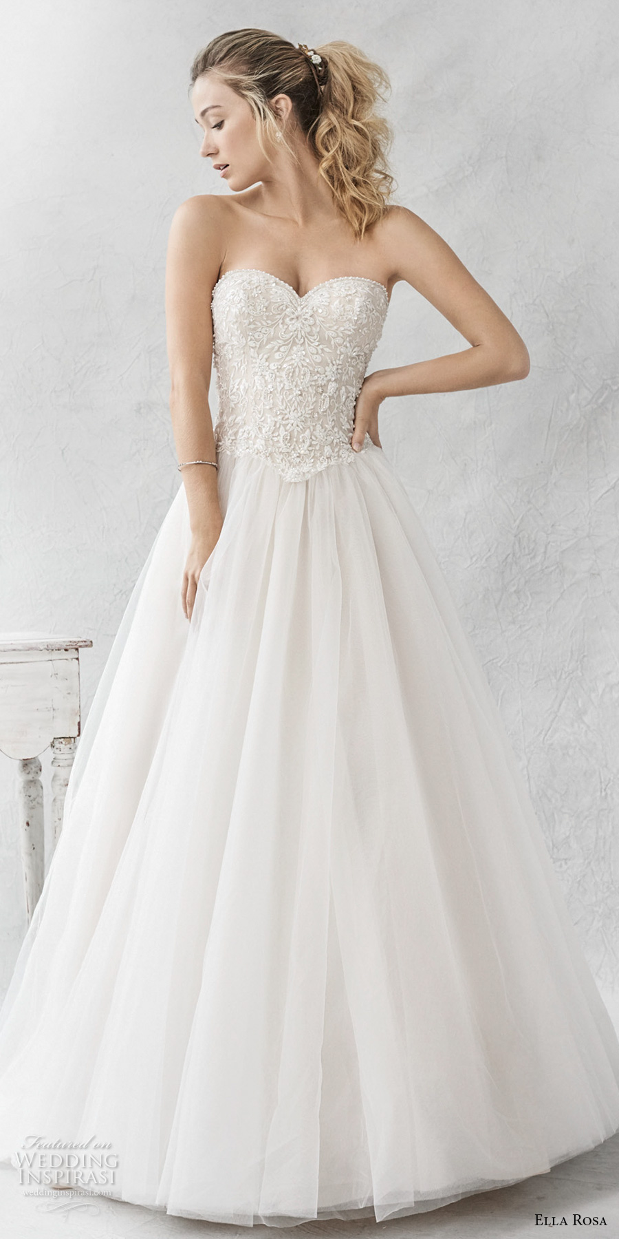 ella rosa spring 2017 bridal strapless sweetheart neckline heavily embellished bodice tulle skirt romantic a line wedding dress chapel train (368) mv