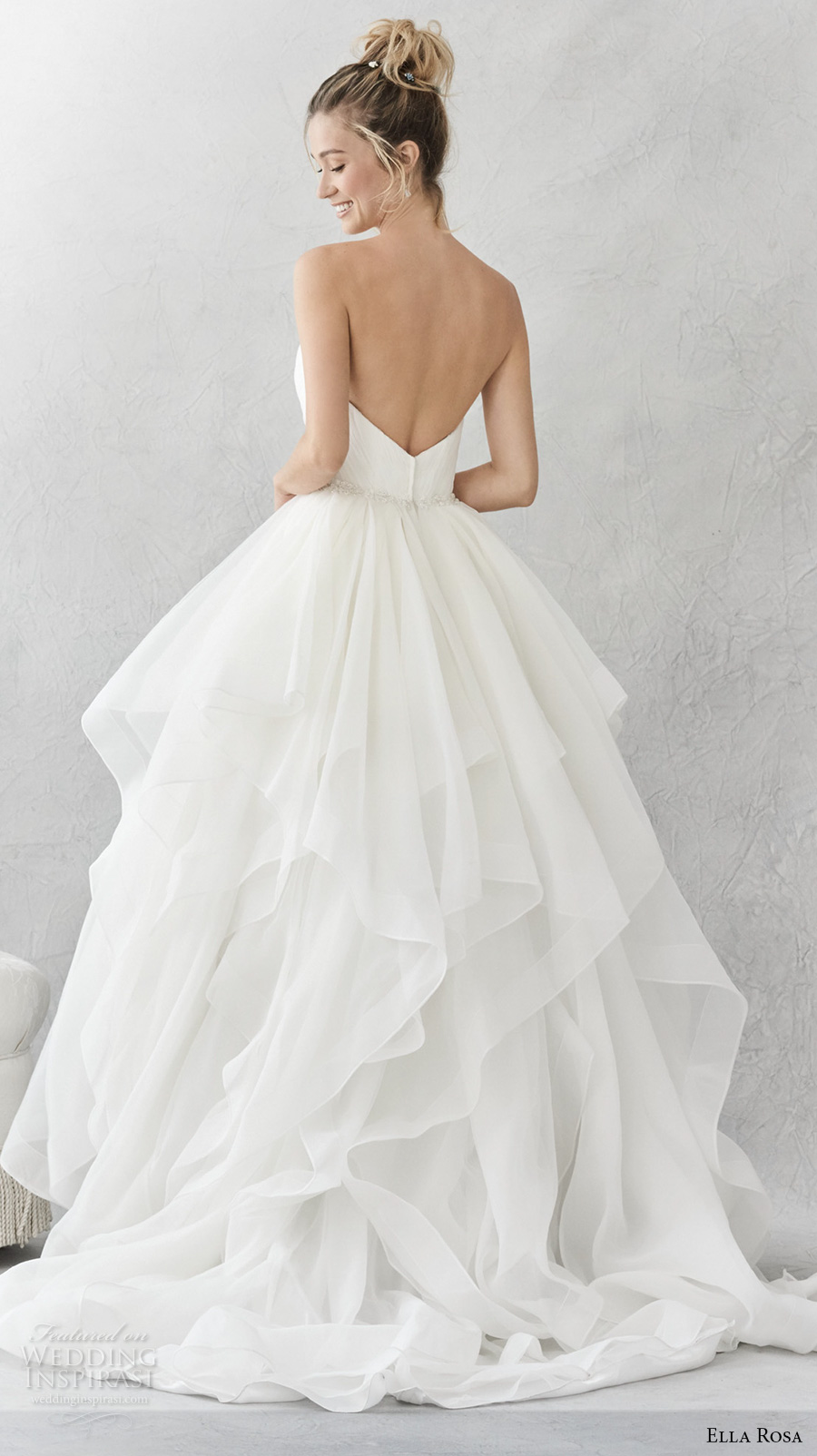 ella rosa spring 2017 bridal strapless sweetheart neckline wrap over bodice simple layer skirt ball gown a line wedding dress open back chapel train (376) bv