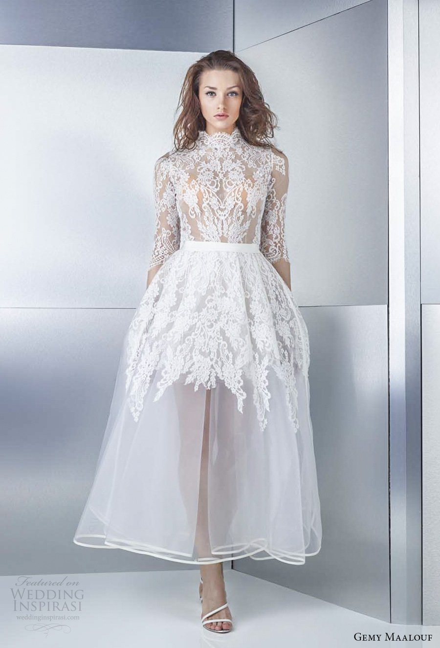 Gemy Maalouf 2017 Bridal Half Sleeves High Neck Heavily Embellished Bodice Tea Length Short Wedding