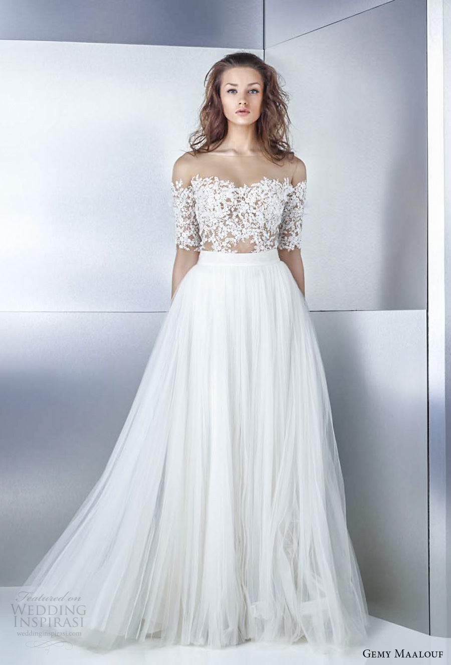 gemy maalouf 2017 bridal off the shoulder sweetheart neckline heavily embellished bodice tulle skirt romantic a  line wedding dress (4739 3759) mv