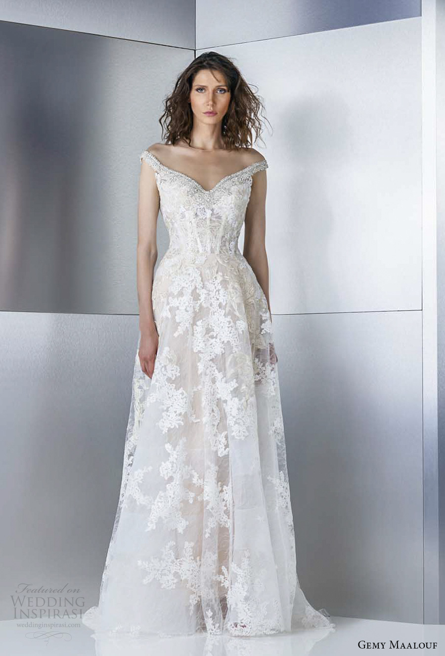 V Neck A Line Wedding Dress