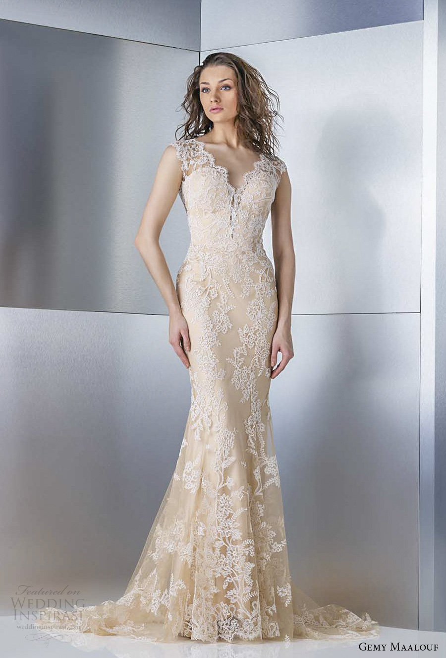 gemy maalouf 2017 bridal sleeveless thick lace strap sweetheart neckline full embellishment gold color elegant fit and flare wedding dress keyhole back sweep train (4855) mv