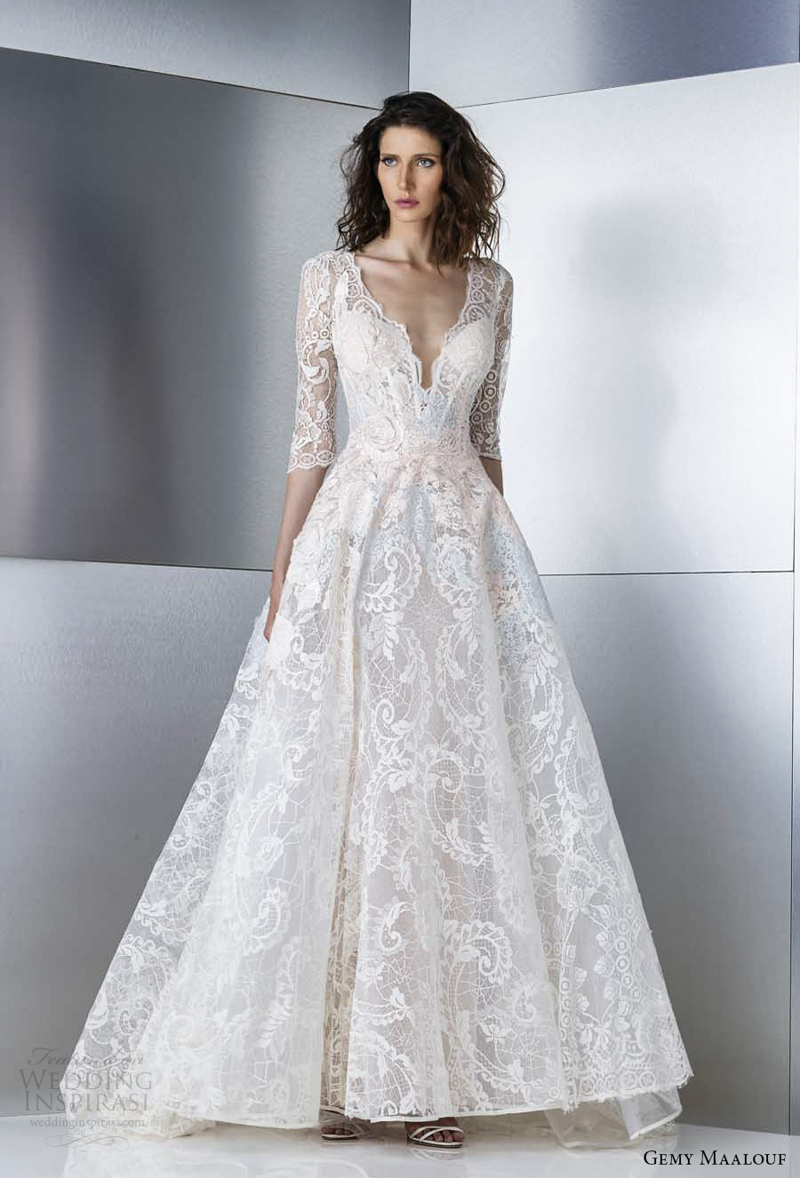 gemy maalouf 2017 bridal three quater sleeves deep plunging v neck full embellishment lace romantic elegant a  line wedding dress open v back sweep train (w17 4787) fv