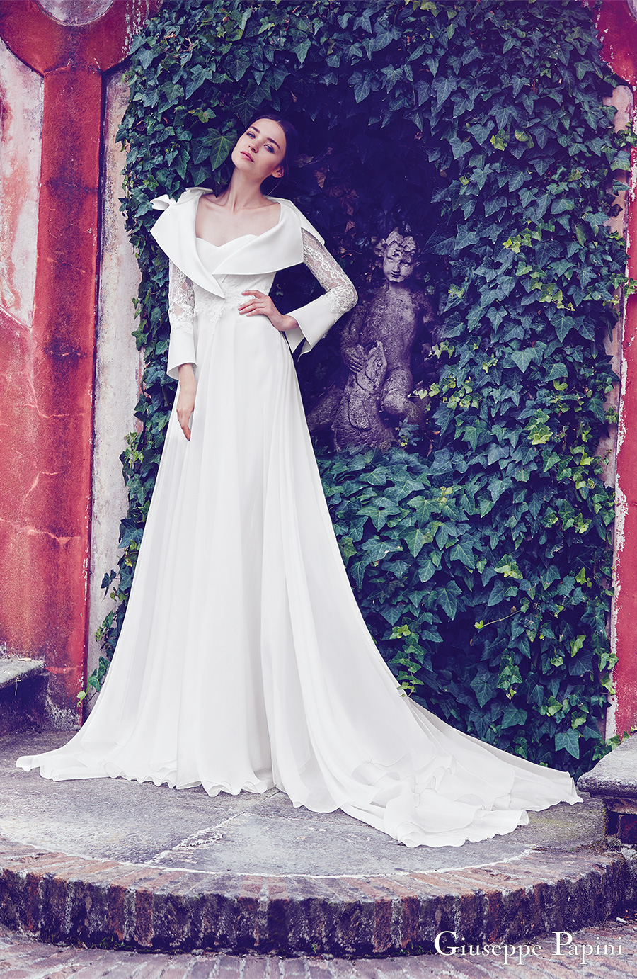 giuseppe papini 2017 (florence) long bell sleeves collar sweetheart a line wedding dress mv train