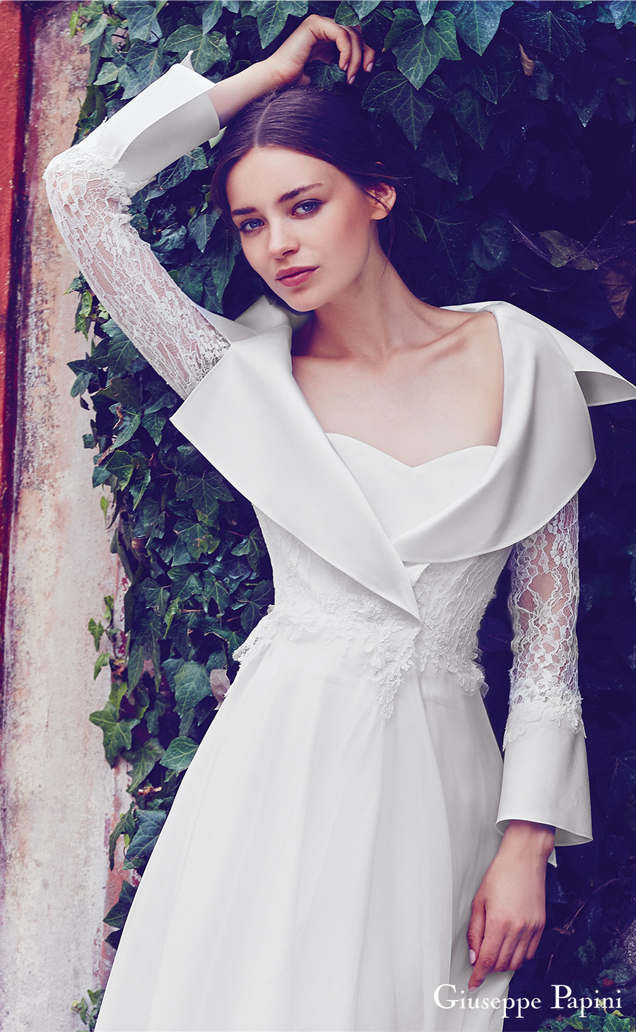 giuseppe papini 2017 (florence) long bell sleeves collar sweetheart a line wedding dress zv