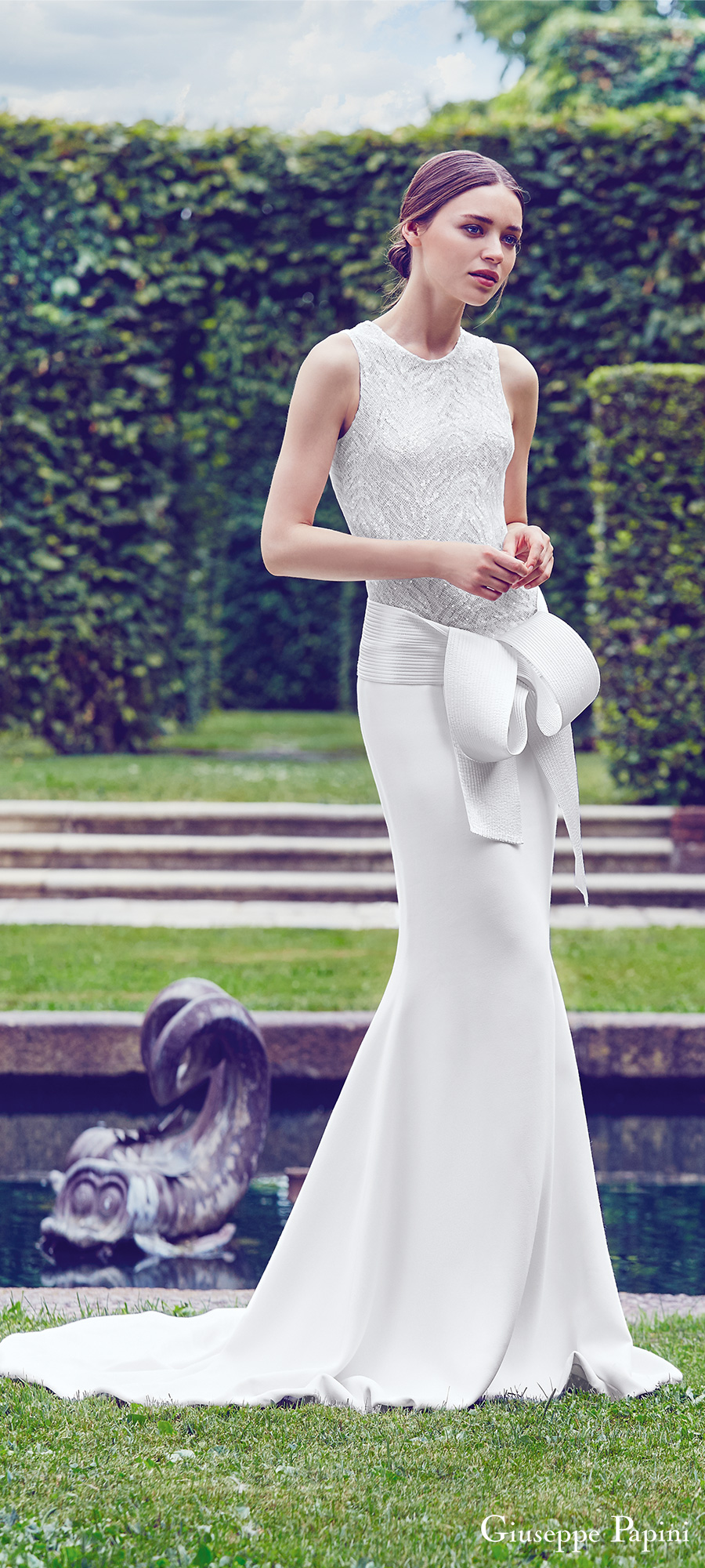 giuseppe papini 2017 (verona) sleeveless jewel neck embellished bodice sheath wedding dress mv modern sash