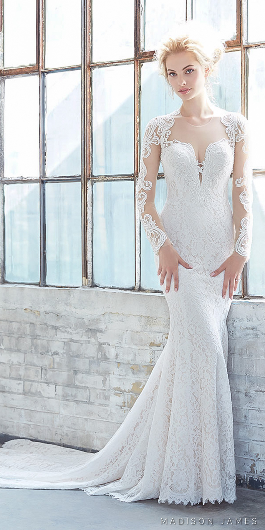 madison james spring 2017 bridal long sleeveless queens anne deep plunging sweetheart neckline full embroidered lace elegant sheath wedding dress sheer keyhole back chapel train (mj309) mv