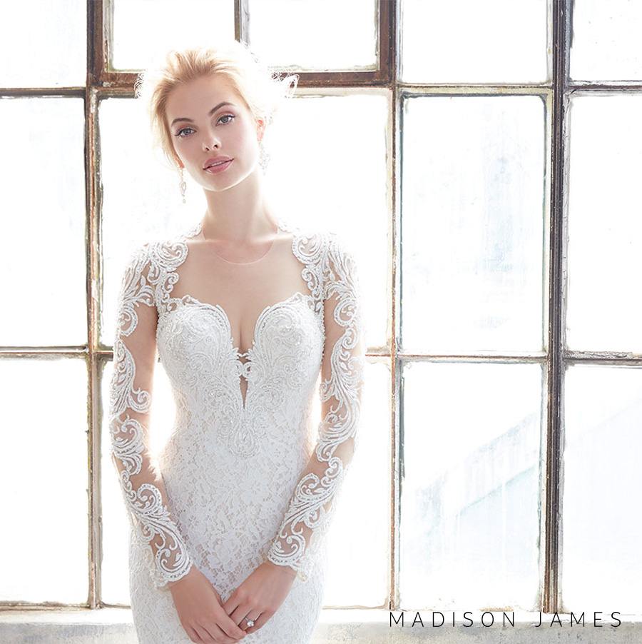 madison james spring 2017 bridal long sleeveless queens anne deep plunging sweetheart neckline full embroidered lace elegant sheath wedding dress sheer keyhole back chapel train (mj309) zv