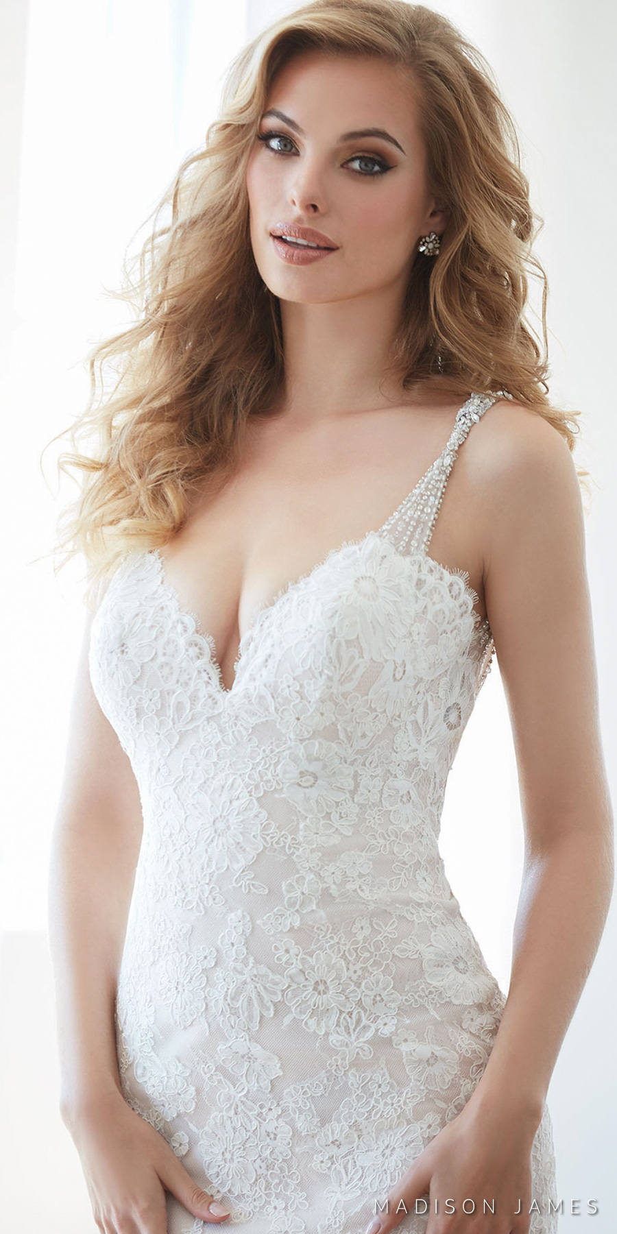 madison james spring 2017 bridal sleeveless embellished strap sweetheart neckline full embroidered lace elegant sheath sexy wedding dress open low back chapel train (mj314) zv