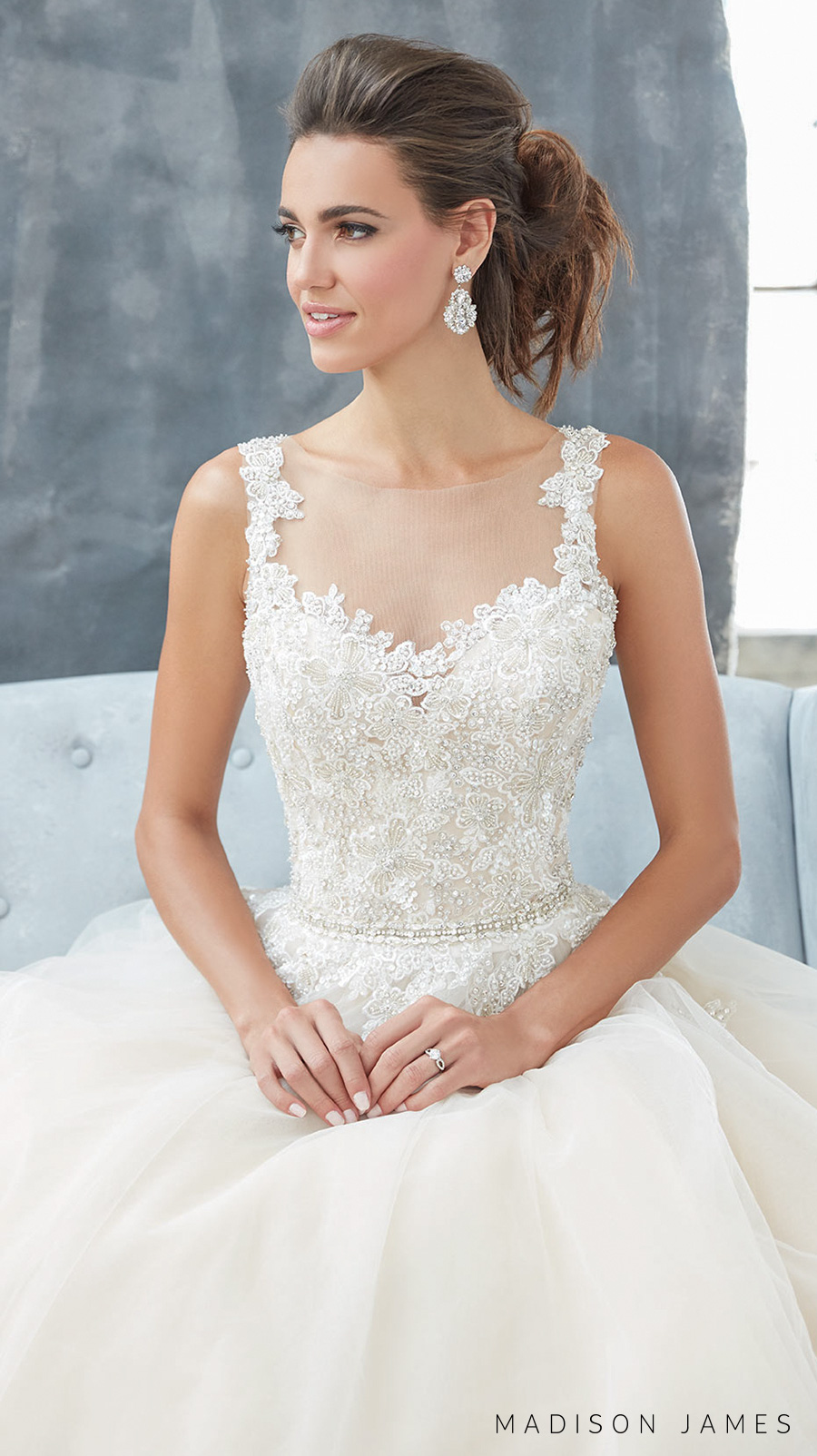 madison james spring 2017 bridal sleeveless embroidered strap sweetheart neckline heavily embellished bodice elegant romantic a  line wedding dress sheer back chapel train (mj304) zv