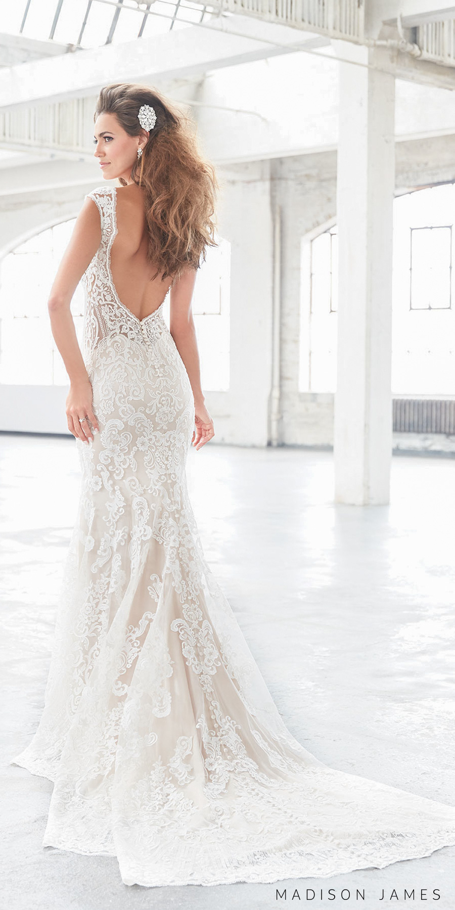 madison james spring 2017 bridal sleeveless thick strap full embroidered lace elegant sexy sheath fit and flare wedding dress open low back chapel train (mj310) bv