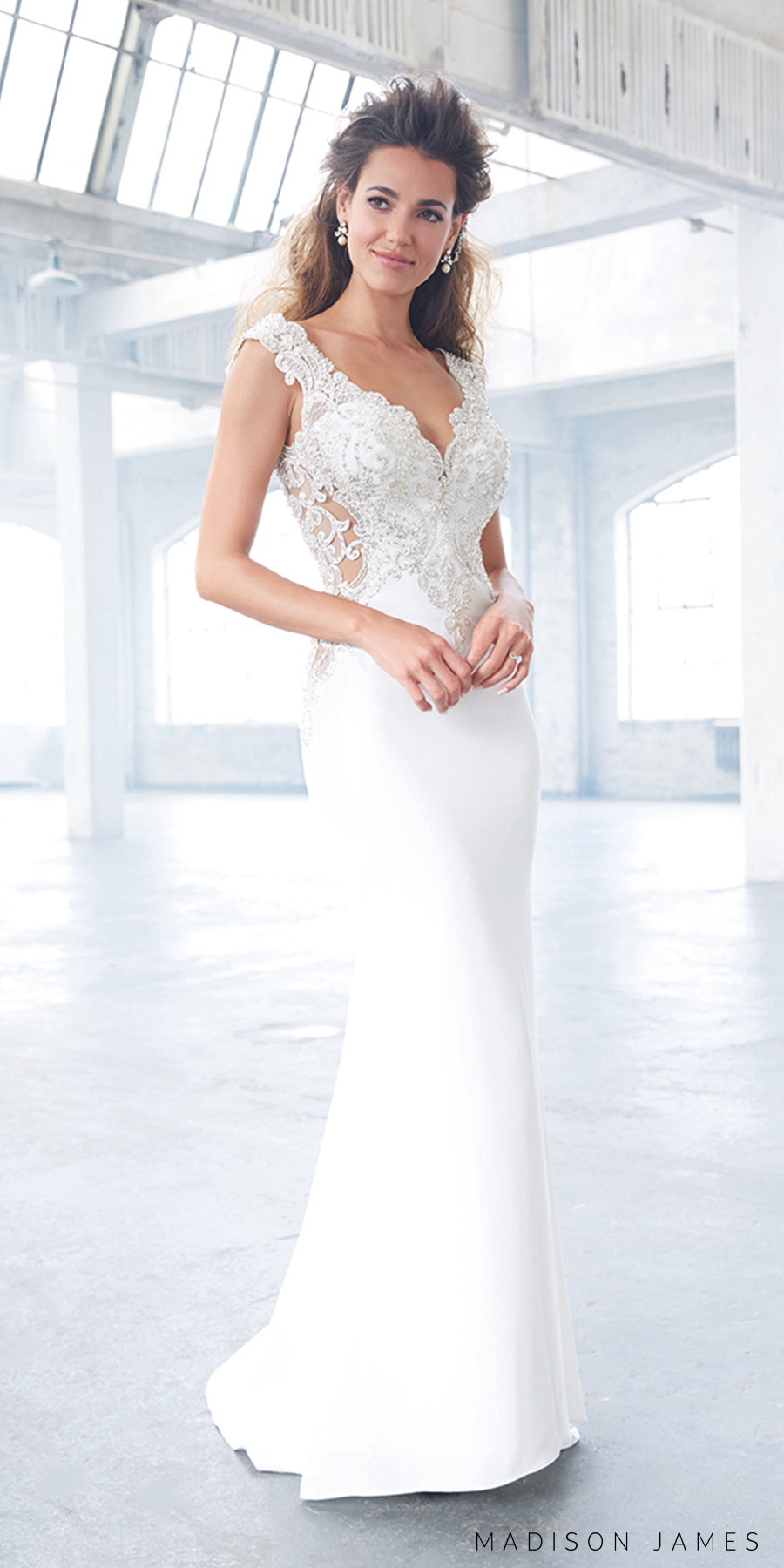 madison james spring 2017 bridal sleeveless thick strap v neck heavily embellished bodice glamorous elegant sheath wedding dress open low back chapel train (mj307) mv