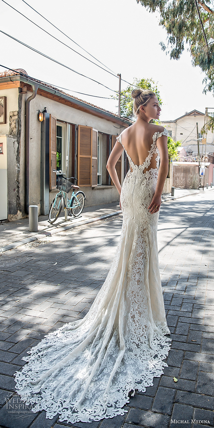 michal medina 2017 bridal off the shoulder cap sleeves deep plunging sweetheart neckline full embellishment elegant sheath fit flare wedding dress open low back chapel train (julianne) mv bv
