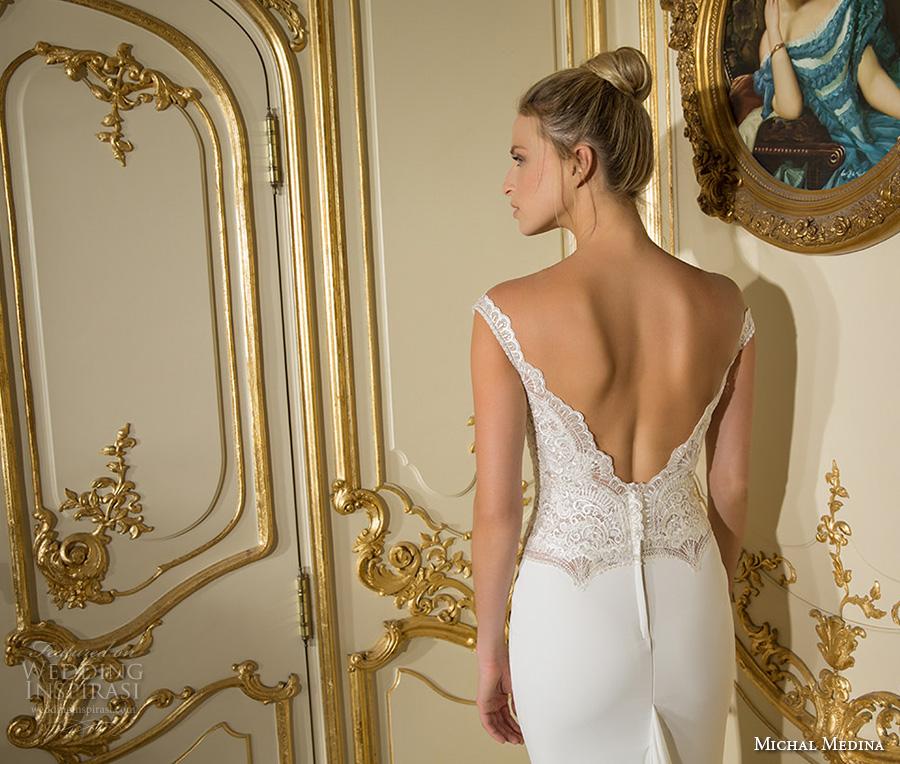 michal medina 2017 bridal off the shoulder cap sleeves deep plunging v neck heavily embellihsed bodice elegant sheath wedding dress open v back sweep train (cate) bv
