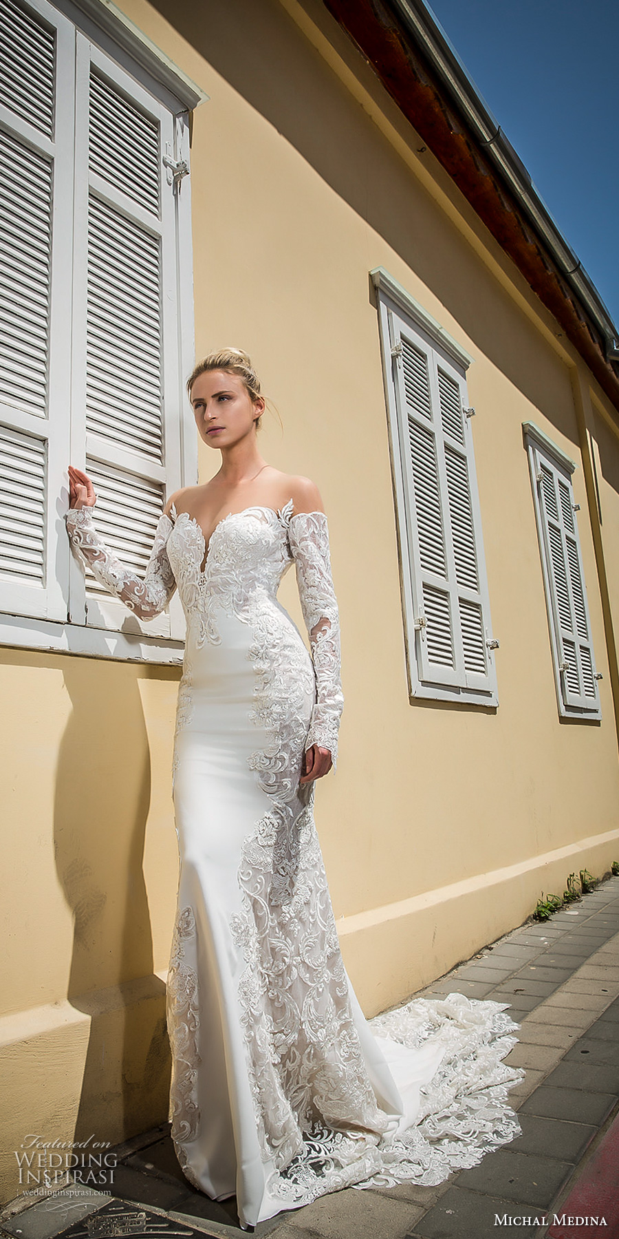 michal medina 2017 bridal off the shoulder long sleeves deep plunging sweetheart neckline heavily embellished bodice elegant sheath wedding dress open low back chapel train (audrey) mv