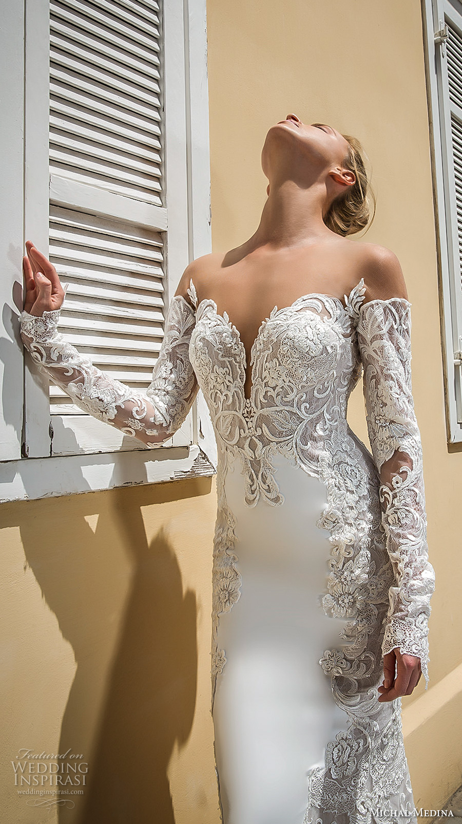 michal medina 2017 bridal off the shoulder long sleeves deep plunging sweetheart neckline heavily embellished bodice elegant sheath wedding dress open low back chapel train (audrey) zv