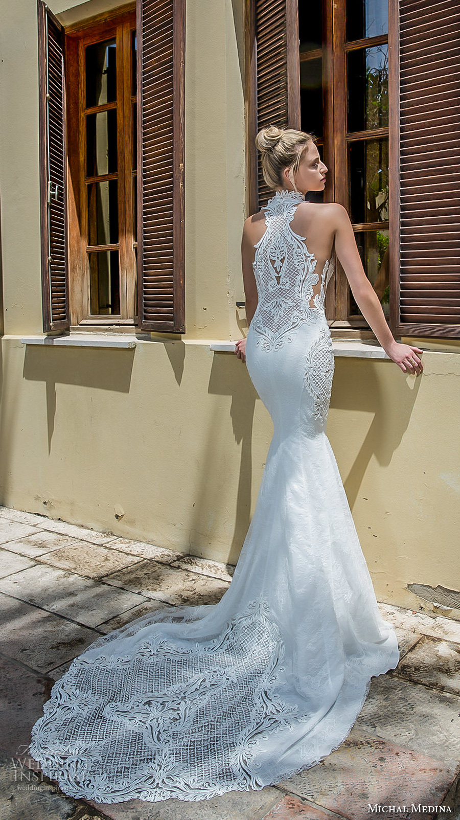 michal medina 2017 bridal sleeveless halter neck keyhole heavily embellished bodice elegant fit and flare wedding dress covered lace back chapel train (renee) bv