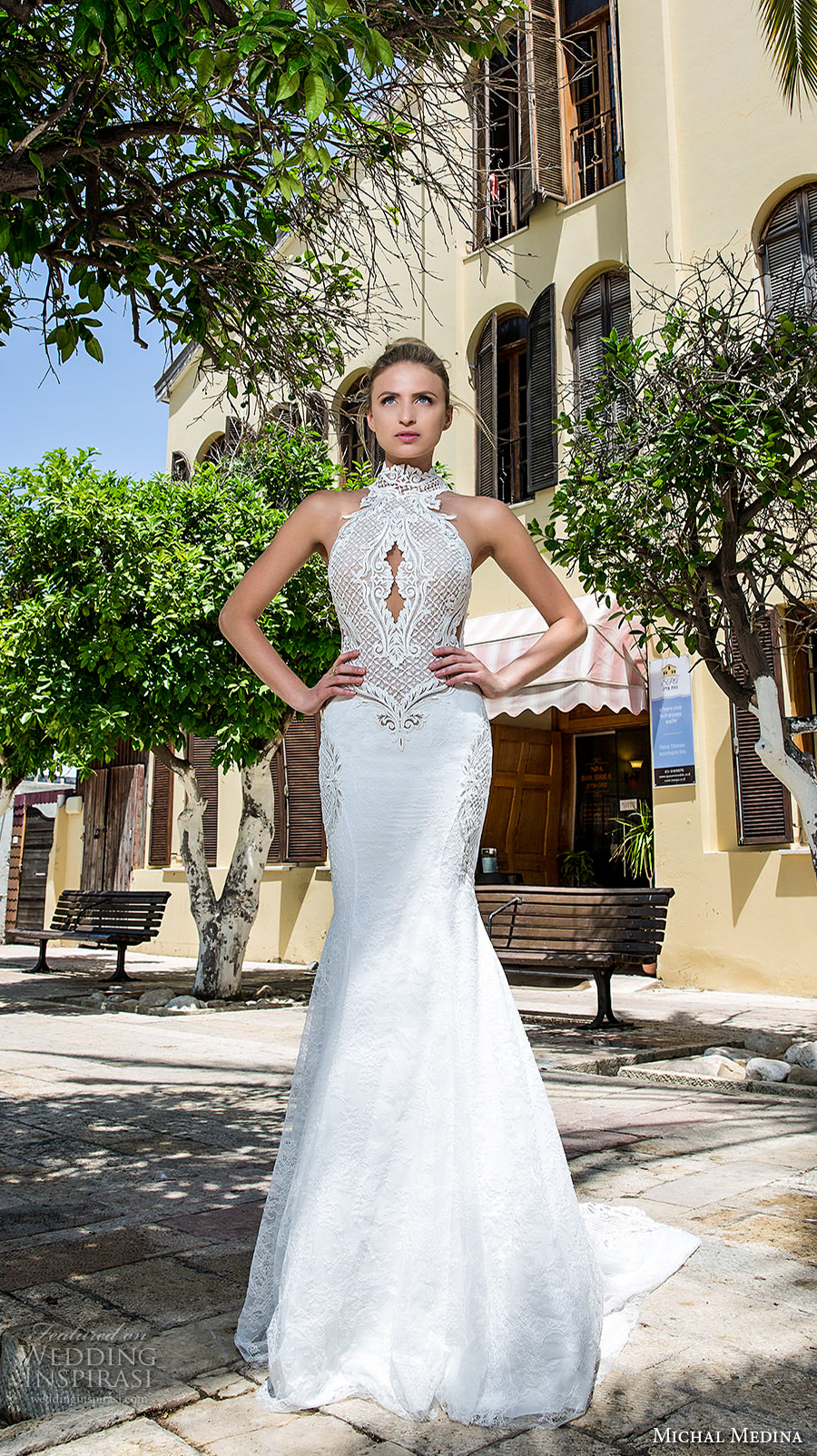 michal medina 2017 bridal sleeveless halter neck keyhole heavily embellished bodice elegant fit and flare wedding dress covered lace back chapel train (renee) mv