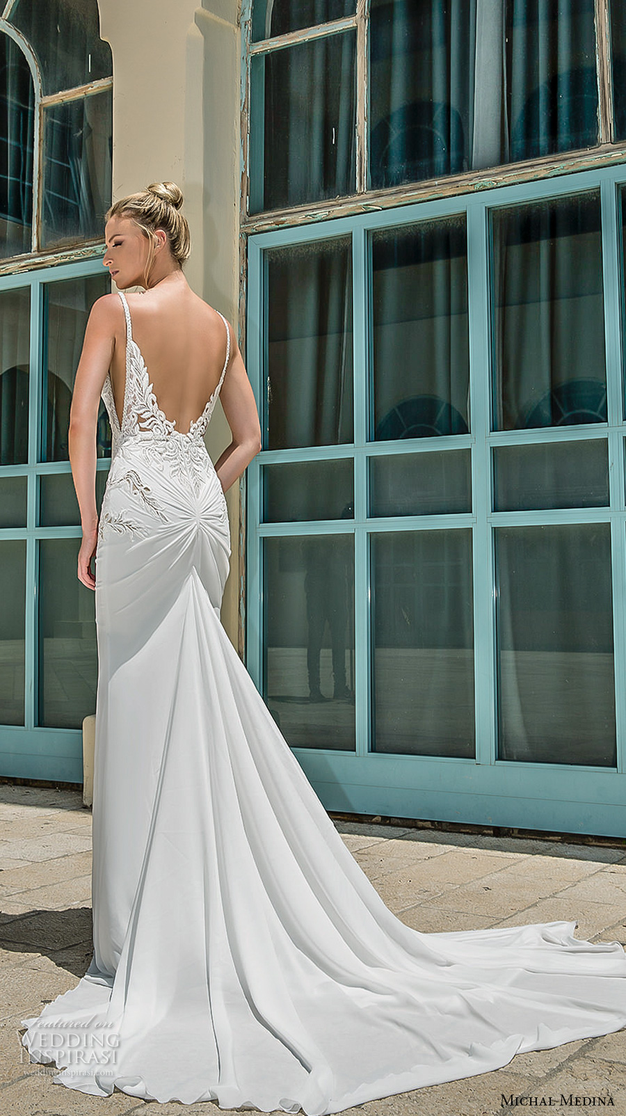 michal medina 2017 bridal spagetti strap deep plunging sweetheart neckline heavily embellished bodice elegant sheath wedding dress open low back chapel train (dianne) bv