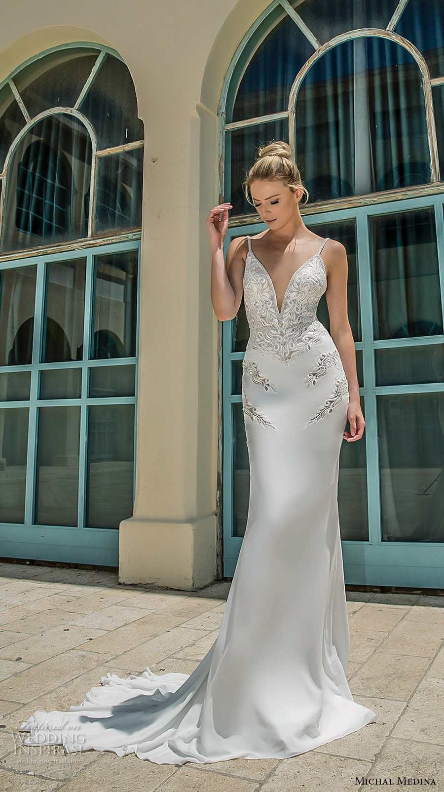 michal medina 2017 bridal spagetti strap deep plunging sweetheart neckline heavily embellished bodice elegant sheath wedding dress open low back chapel train (dianne) mv
