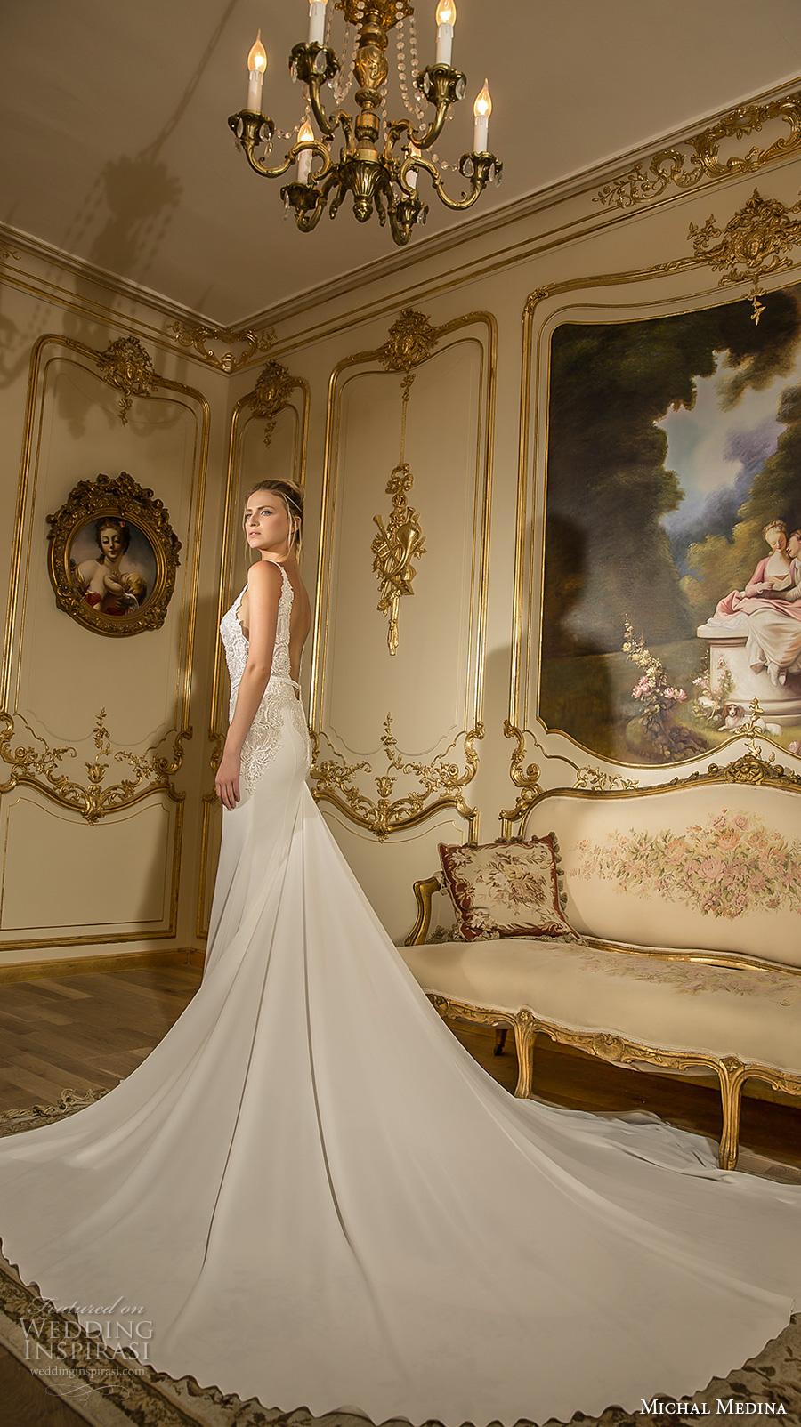 michal medina 2017 bridal spagetti strap deep plunging v neckline heavily embellished bodice drop waist sexy elegant a  line wedding dress open low back long train (julia) bv