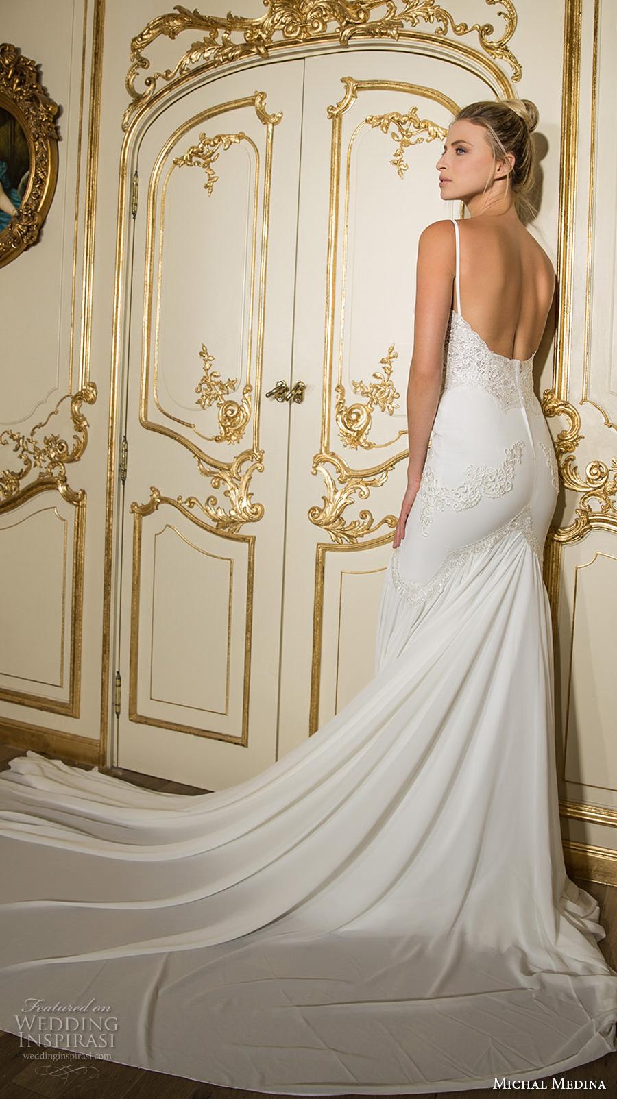 michal medina 2017 bridal spagetti strap sweetheart neckline heavily embellished bodice elegant drop waist a  line wedding dress open back chapel train (bette) bv