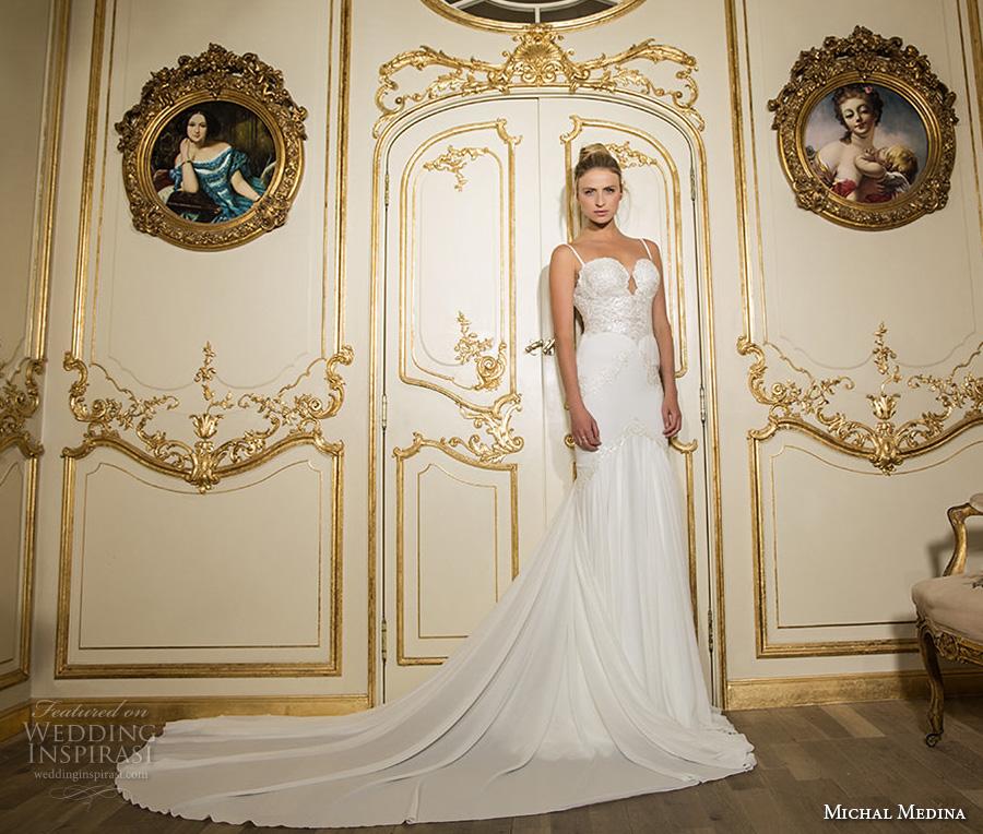 michal medina 2017 bridal spagetti strap sweetheart neckline heavily embellished bodice elegant drop waist a  line wedding dress open back chapel train (bette) mv