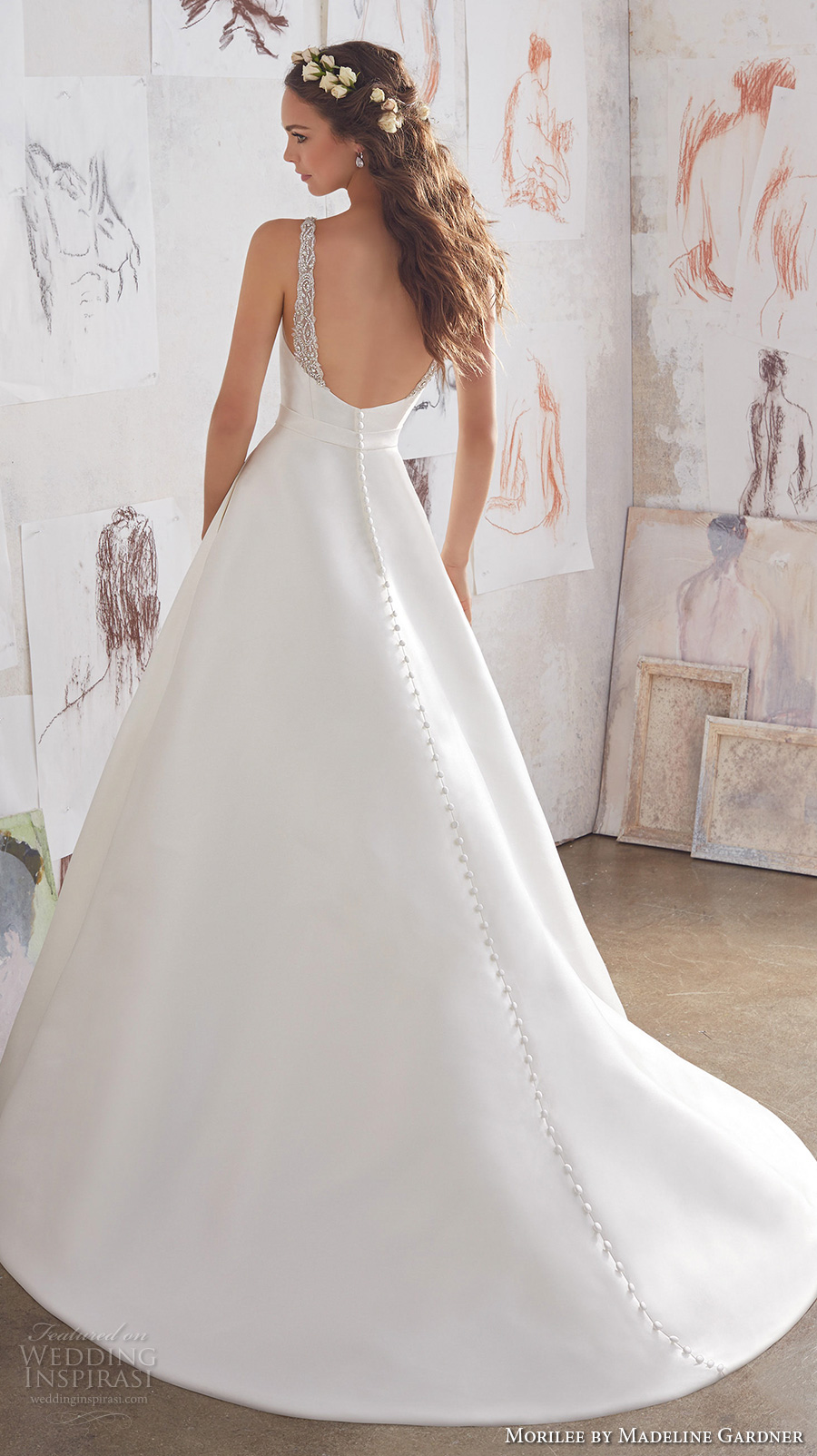 morilee spring 2017 bridal sleeveless bateau neckline simple clean design elegant a line wedding dress open back chapel train (5516) bv