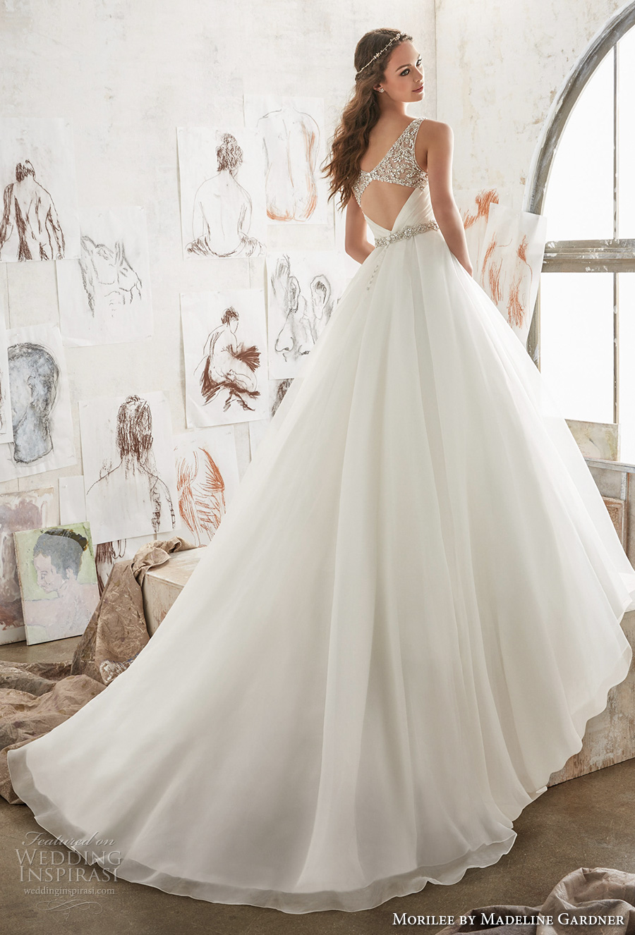 morilee spring 2017 bridal sleeveless embroidered strap heavily embellished bodice pleated skirt ivory color romantic a  line wedding dress pockets open back royal train (5501) mv