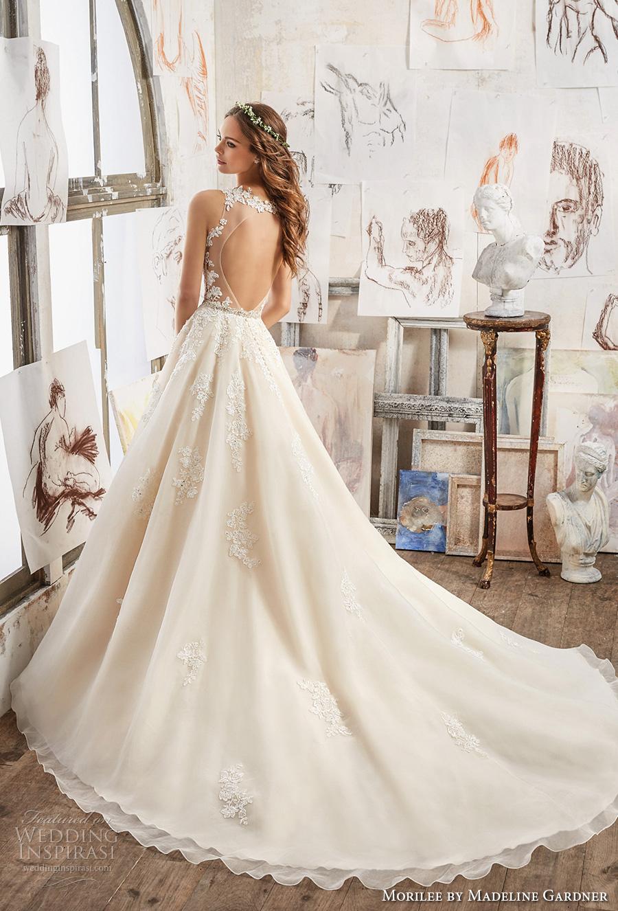 morilee spring 2017 bridal sleeveless embroidered strap v neck heavily embellished bodice romantic blush color a  line wedding dress keyhole back chapel train (5510) bv