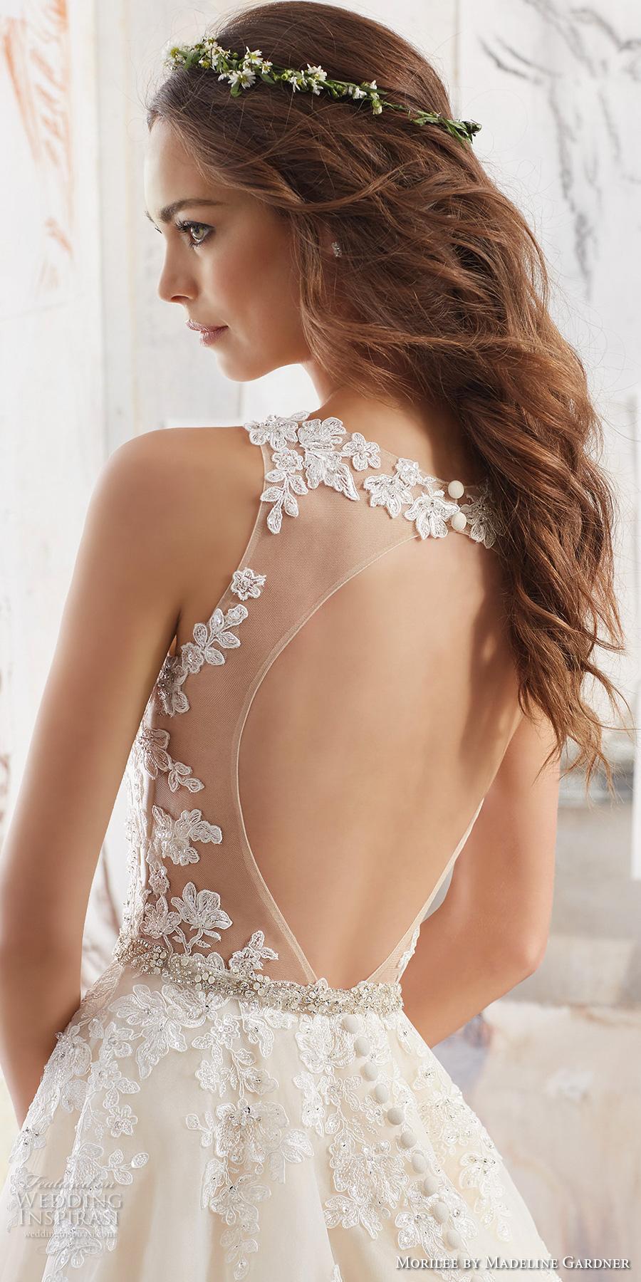 morilee spring 2017 bridal sleeveless embroidered strap v neck heavily embellished bodice romantic blush color a  line wedding dress keyhole back chapel train (5510) zbv