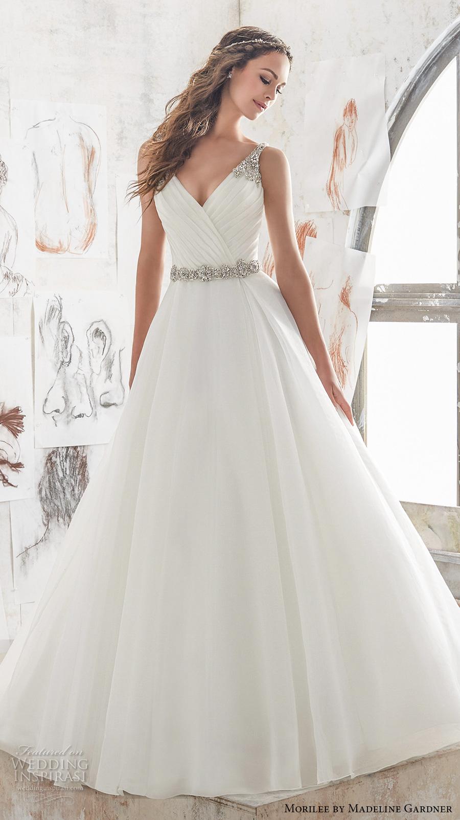 morilee spring 2017 bridal sleeveless embroidered strap wrap over ruched bodice romantic elegant a  line wedding dress keyhole back chapel train (5507) mv