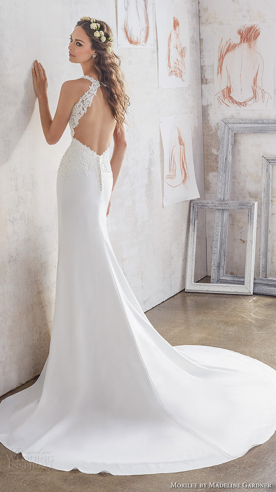 morilee spring 2017 bridal sleeveless embroidered thick strap v neck heavily embellished bodice sheath wedding dress keyhole back chapel train (5508) bv