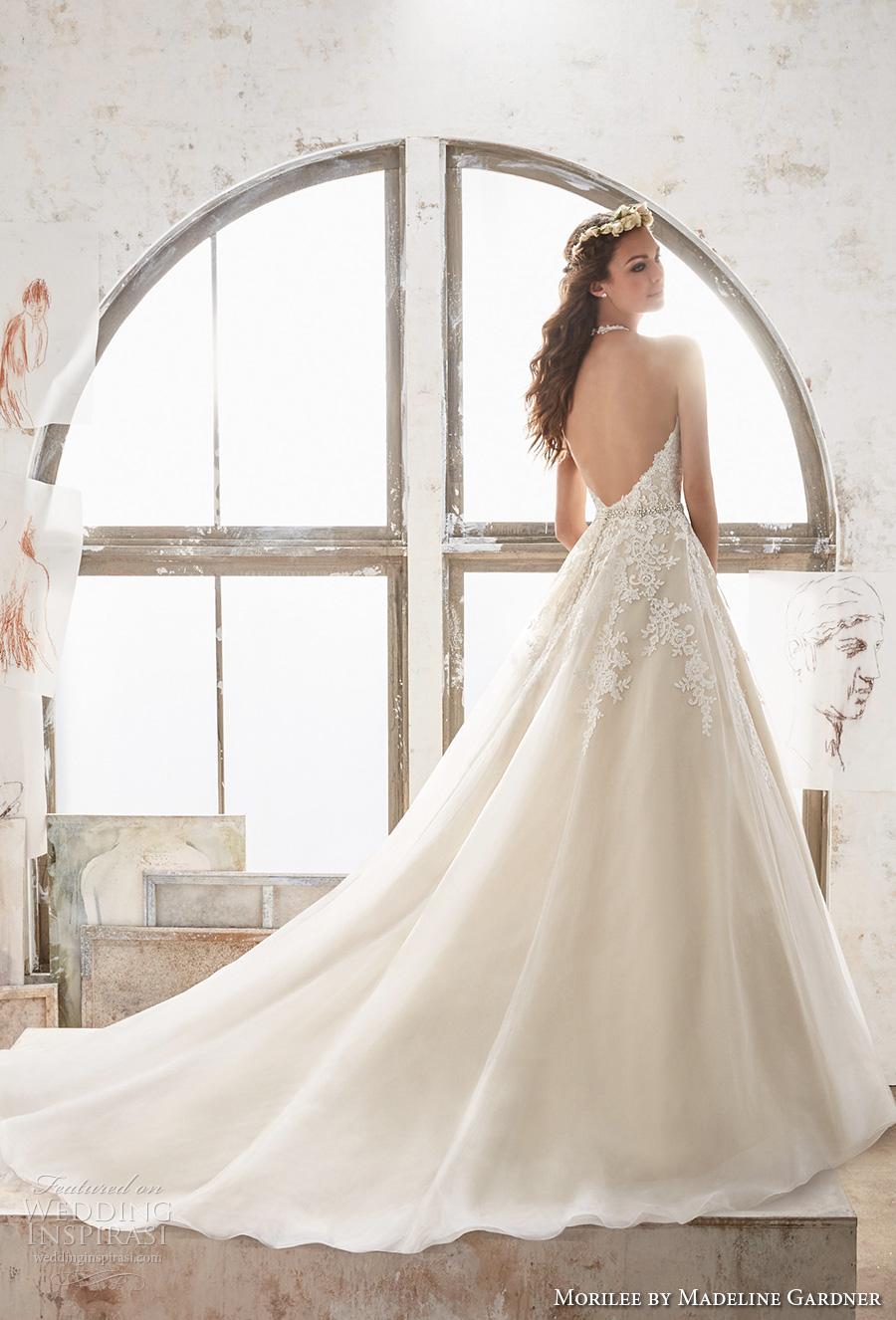 morilee spring 2017 bridal sleeveless halter v neck heavily embellished bodice romantic a  line wedding dress open low back chapel train (5513) bv