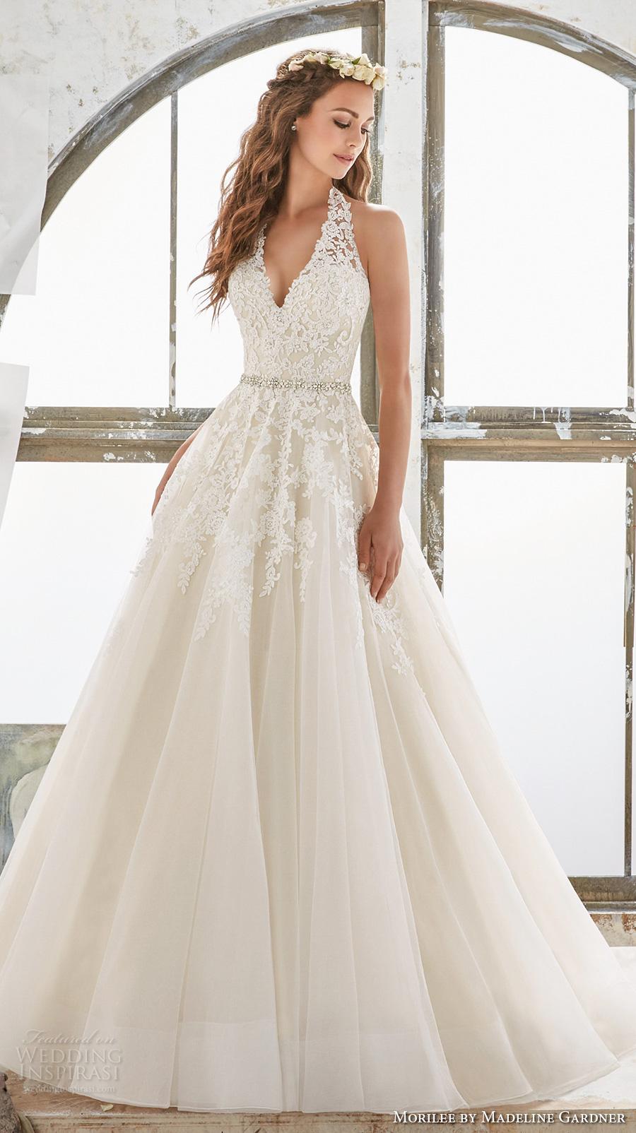 morilee spring 2017 bridal sleeveless halter v neck heavily embellished bodice romantic a  line wedding dress open low back chapel train (5513) mv