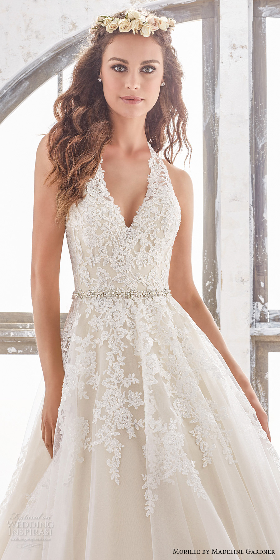 morilee spring 2017 bridal sleeveless halter v neck heavily embellished bodice romantic a  line wedding dress open low back chapel train (5513) zv