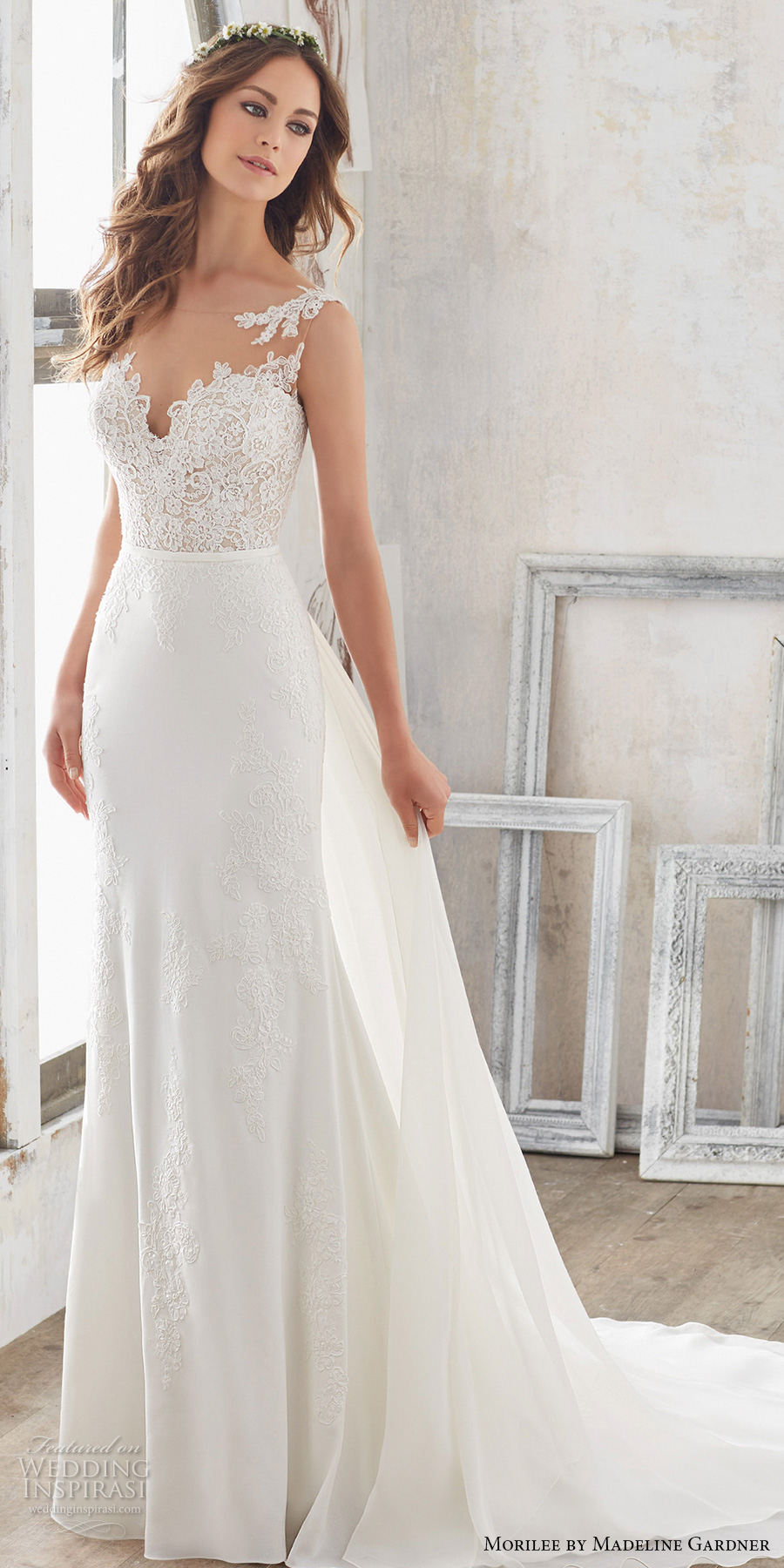 morilee spring 2017 bridal sleeveless sheer bateau sweetheart neckline heavily embellished bodice romantic fit and flare wedding dress modified a  line overskirt open back chapel train (5503) mv