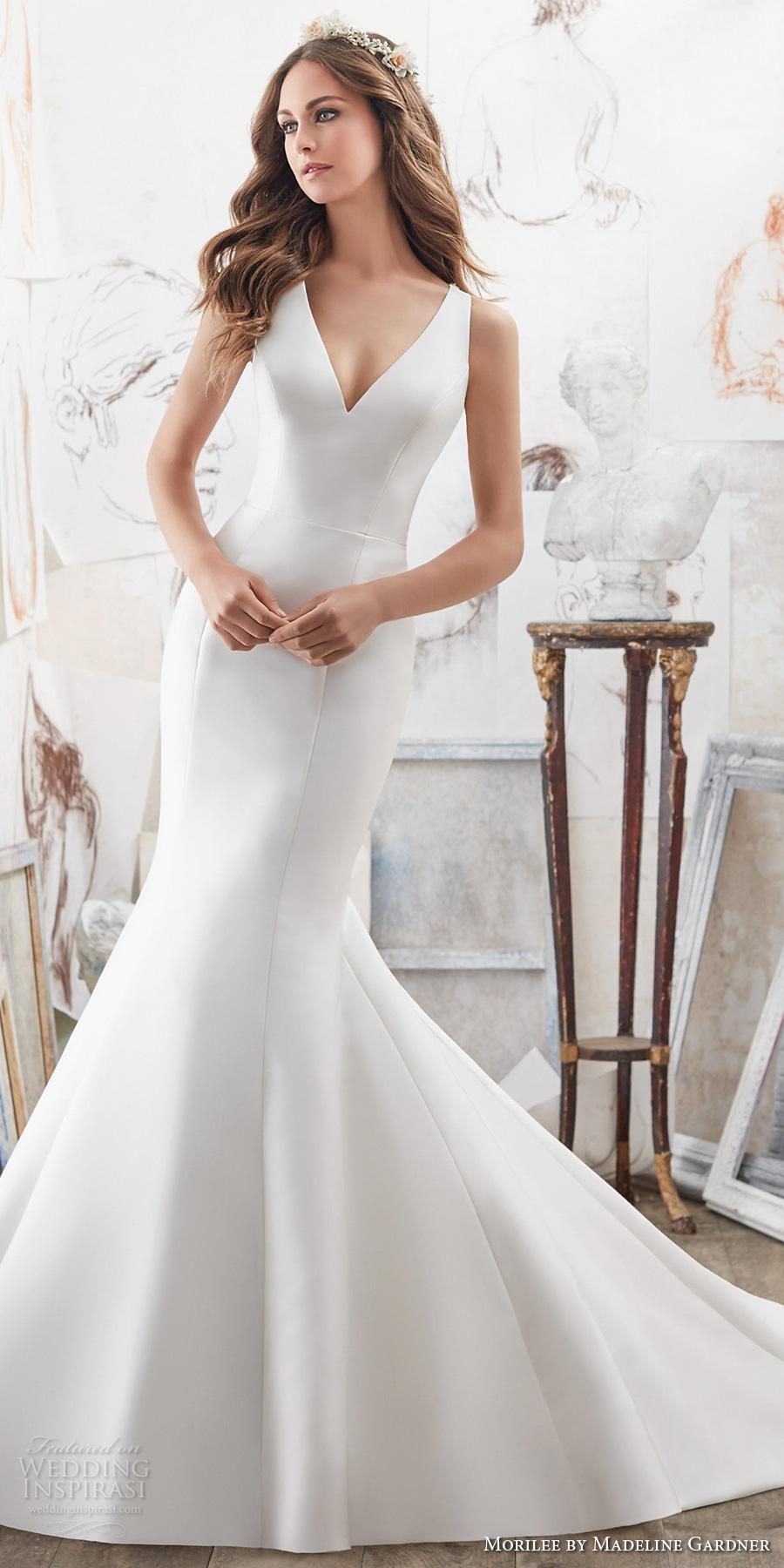 morilee spring 2017 bridal sleeveless v neck clean simple elegant fit and flare wedding dress embellished strap back chapel train (5506) mv