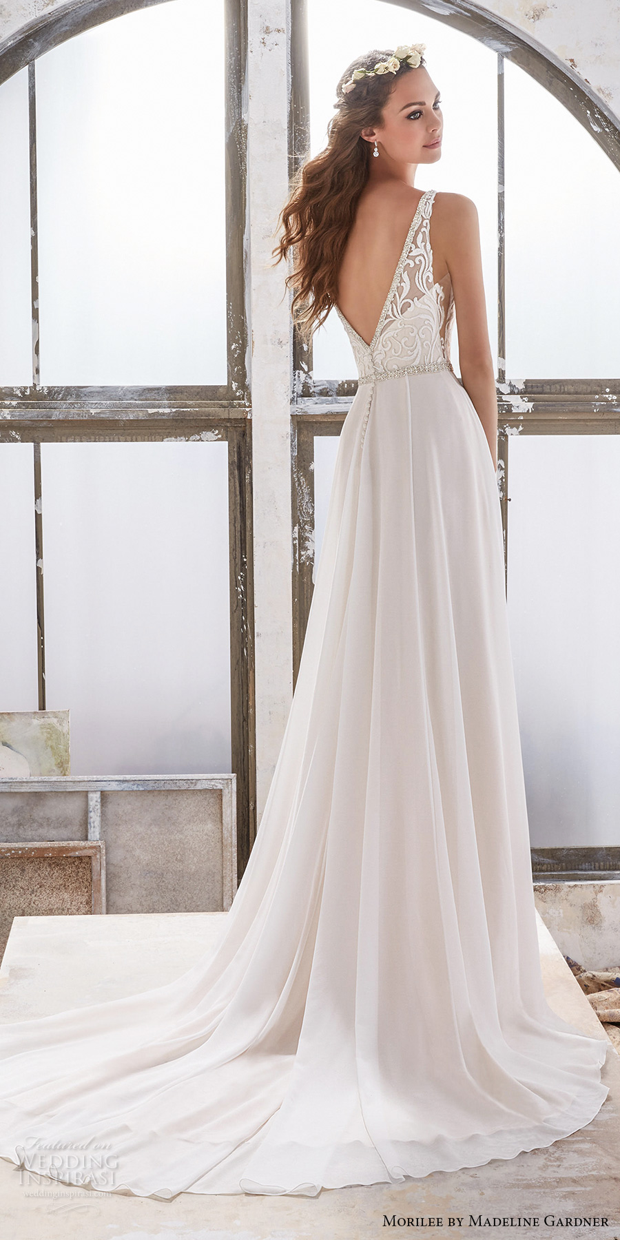 morilee spring 2017 bridal sleeveless v neck heavily embellished bodice elegant sheath wedding dress open v back chapel train (5505) bv