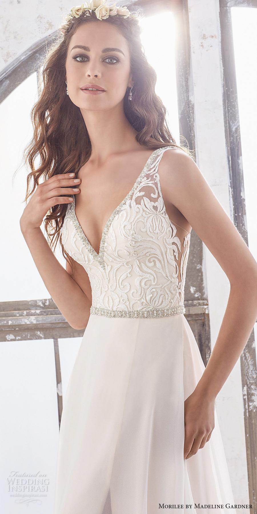 morilee spring 2017 bridal sleeveless v neck heavily embellished bodice elegant sheath wedding dress open v back chapel train (5505) zv