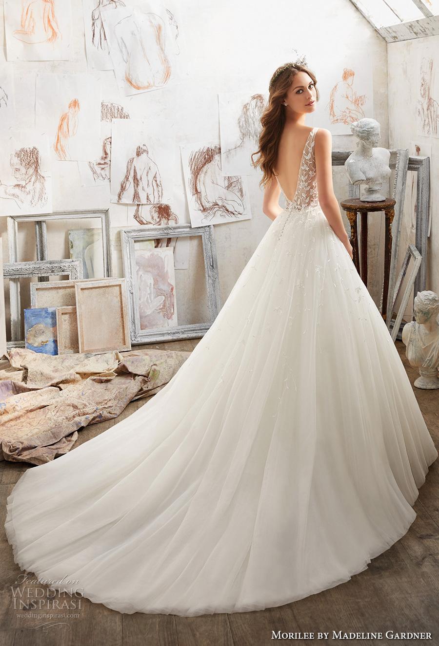 morilee spring 2017 bridal sleeveless v neck heavily embellished bodice tulle skirt romantic a  line wedding dress open v back chapel train (5515) bv