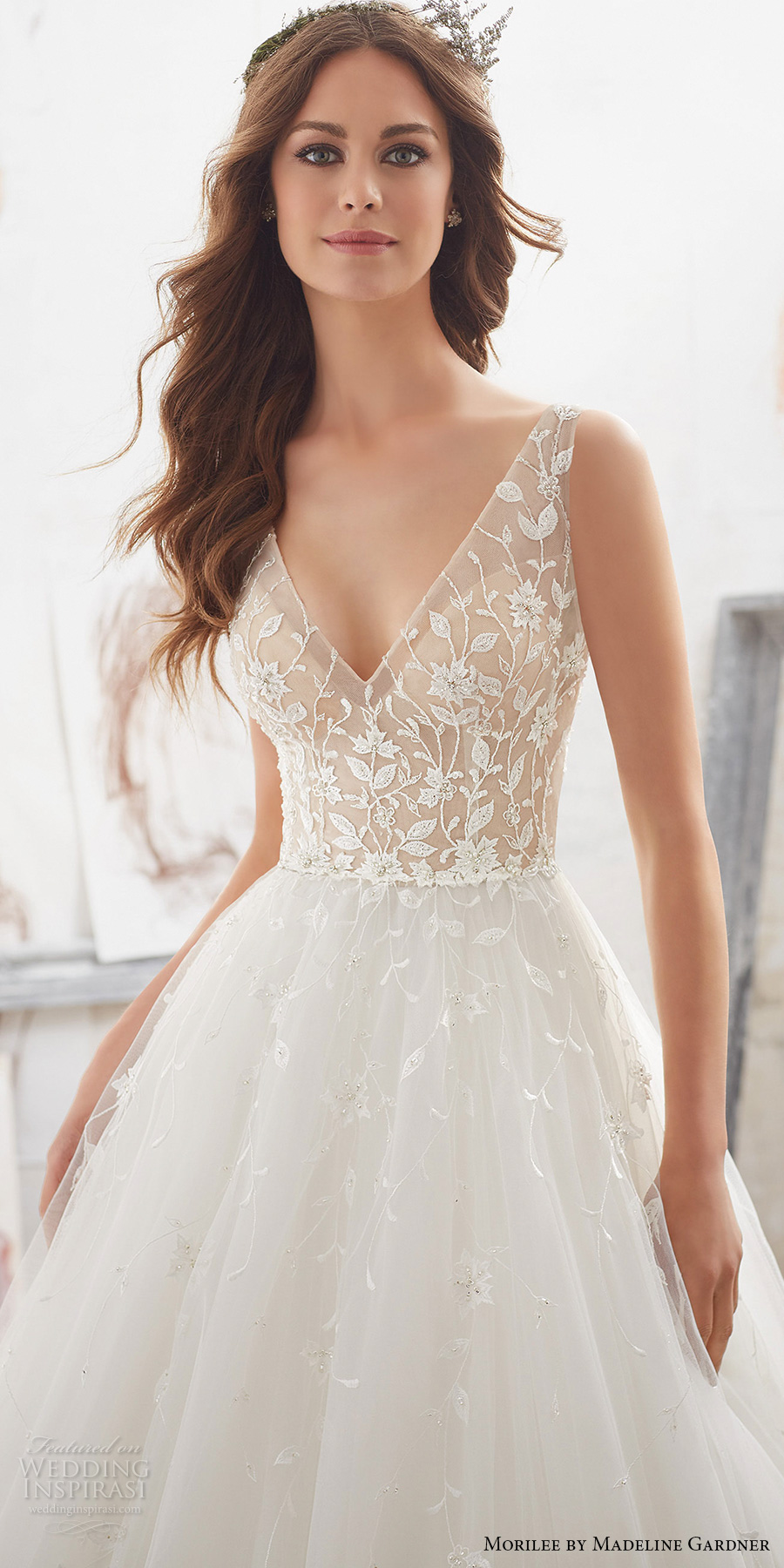 morilee spring 2017 bridal sleeveless v neck heavily embellished bodice tulle skirt romantic a  line wedding dress open v back chapel train (5515) zv