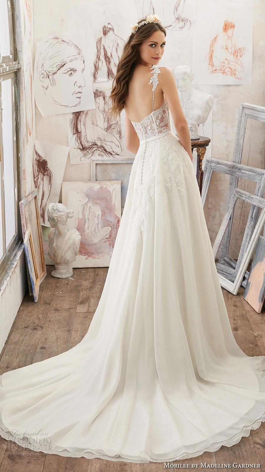 morilee spring 2017 bridal spagetti strap sweetheart neckline heavily embellished bodice romantic modified a  line wedding dress chapel train (5514) bv