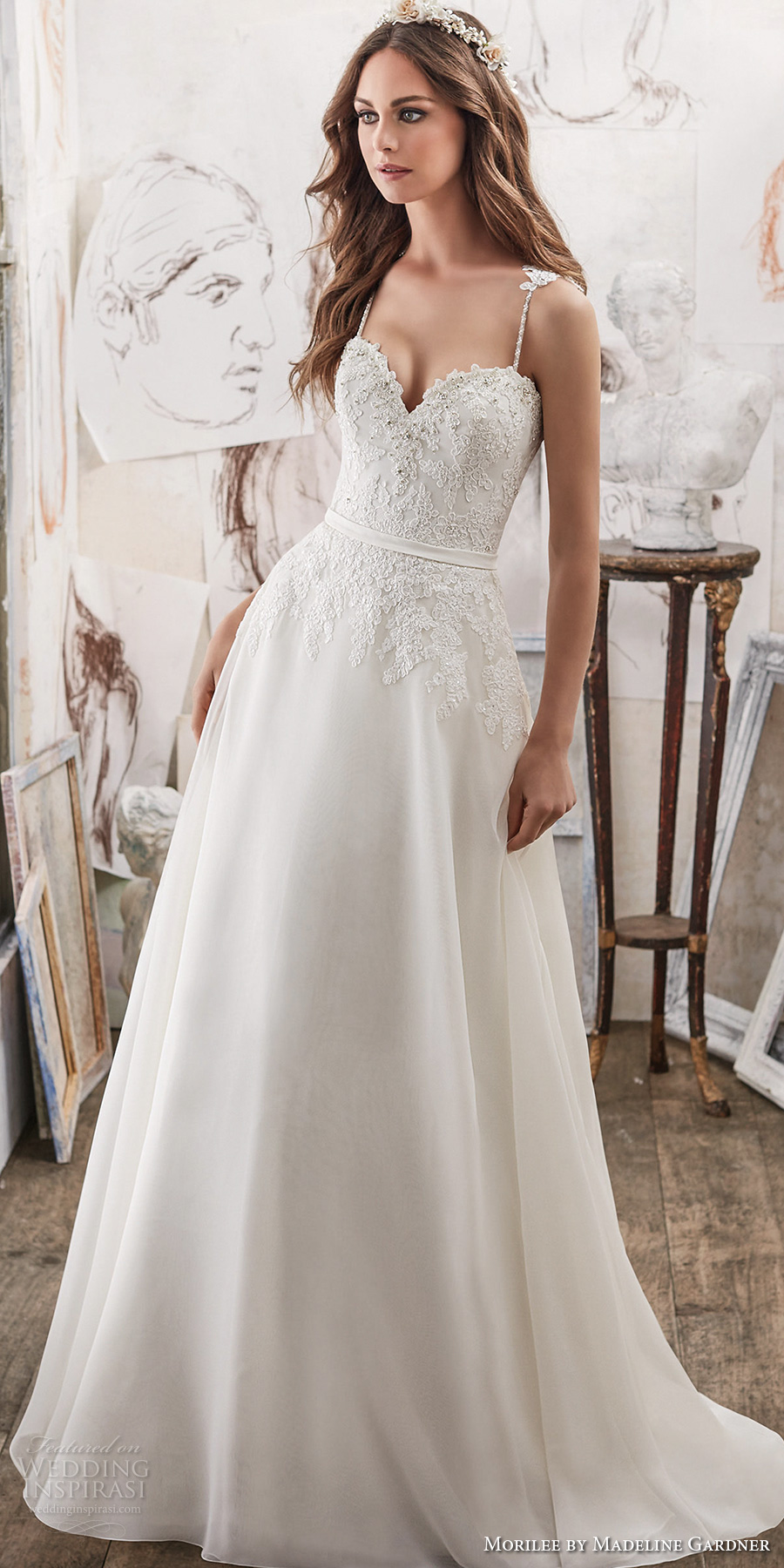 morilee spring 2017 bridal spagetti strap sweetheart neckline heavily embellished bodice romantic modified a line wedding dress chapel train (5514) mv