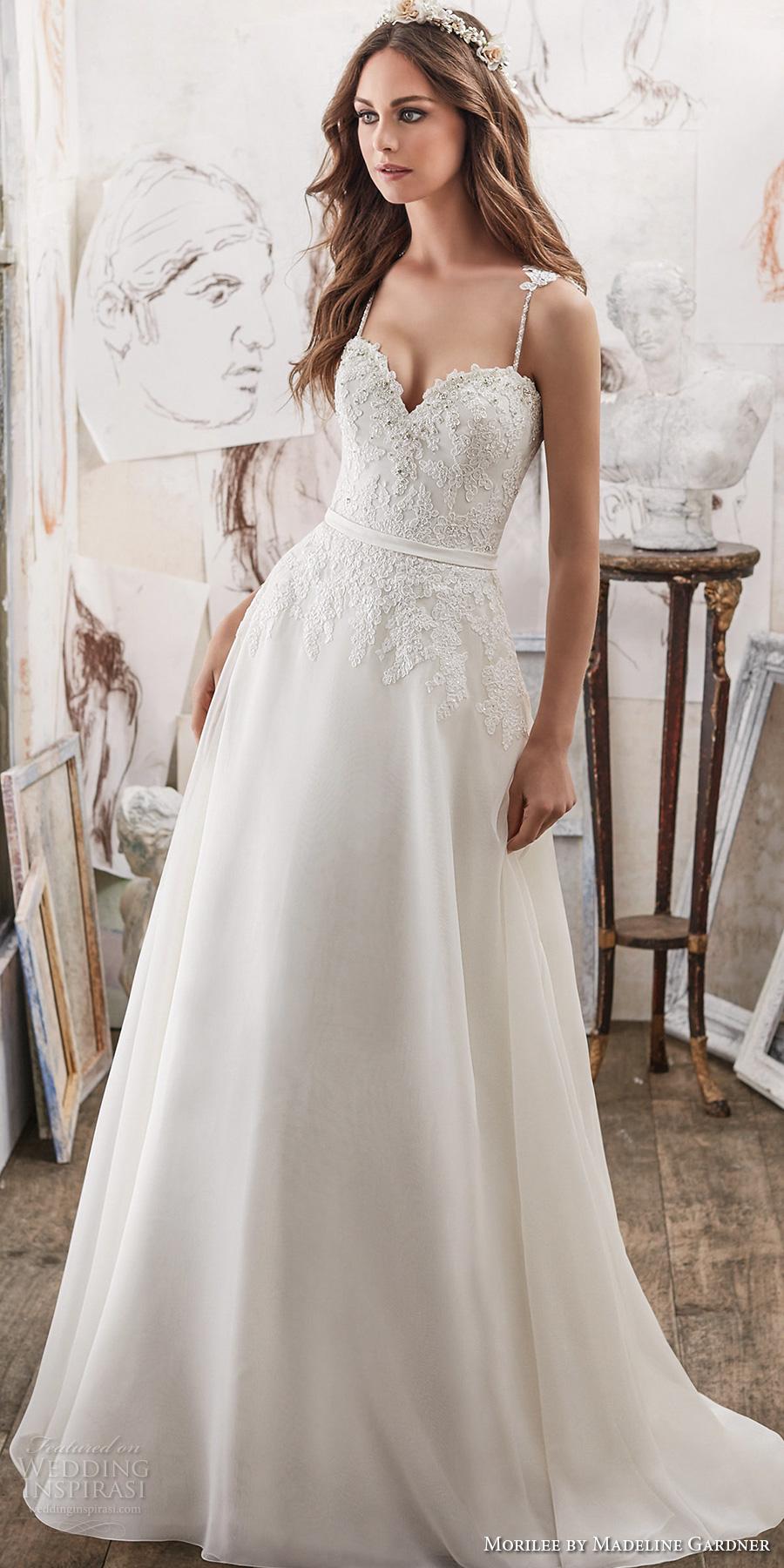 morilee spring 2017 bridal spagetti strap sweetheart neckline heavily embellished bodice romantic modified a  line wedding dress chapel train (5514) mv