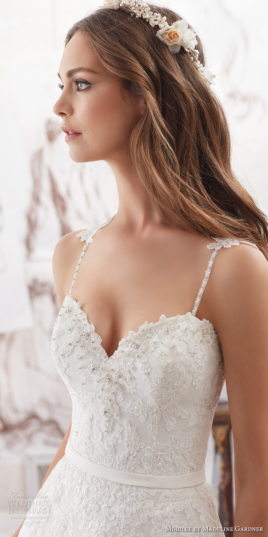 morilee spring 2017 bridal spagetti strap sweetheart neckline heavily embellished bodice romantic modified a  line wedding dress chapel train (5514) zv