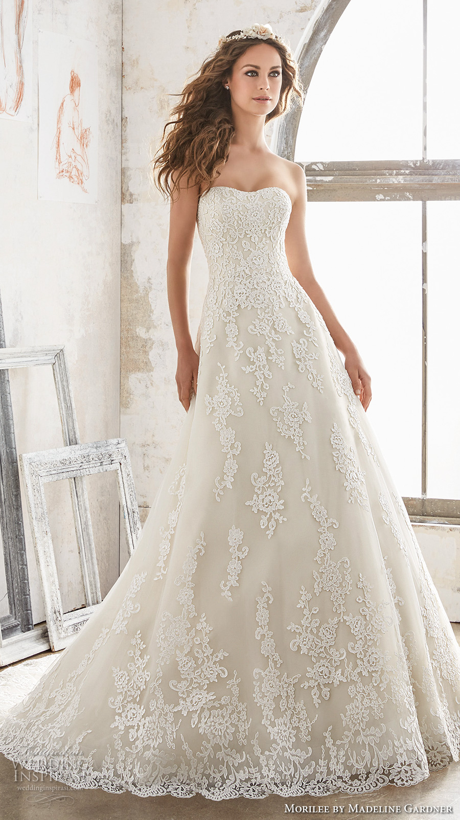 morilee spring 2017 bridal strapless semi sweetheart neckline full embellishment romantic a line wedding dress chapel train (5502) mv