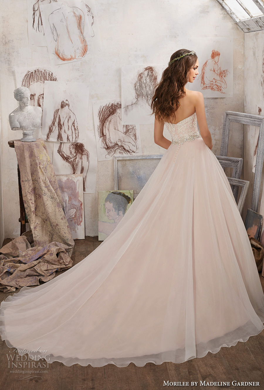morilee spring 2017 bridal strapless sweetheart neckline heavily embellished bodice layer skirt blush color romantic a  line wedding dress chapel train (5511) bv