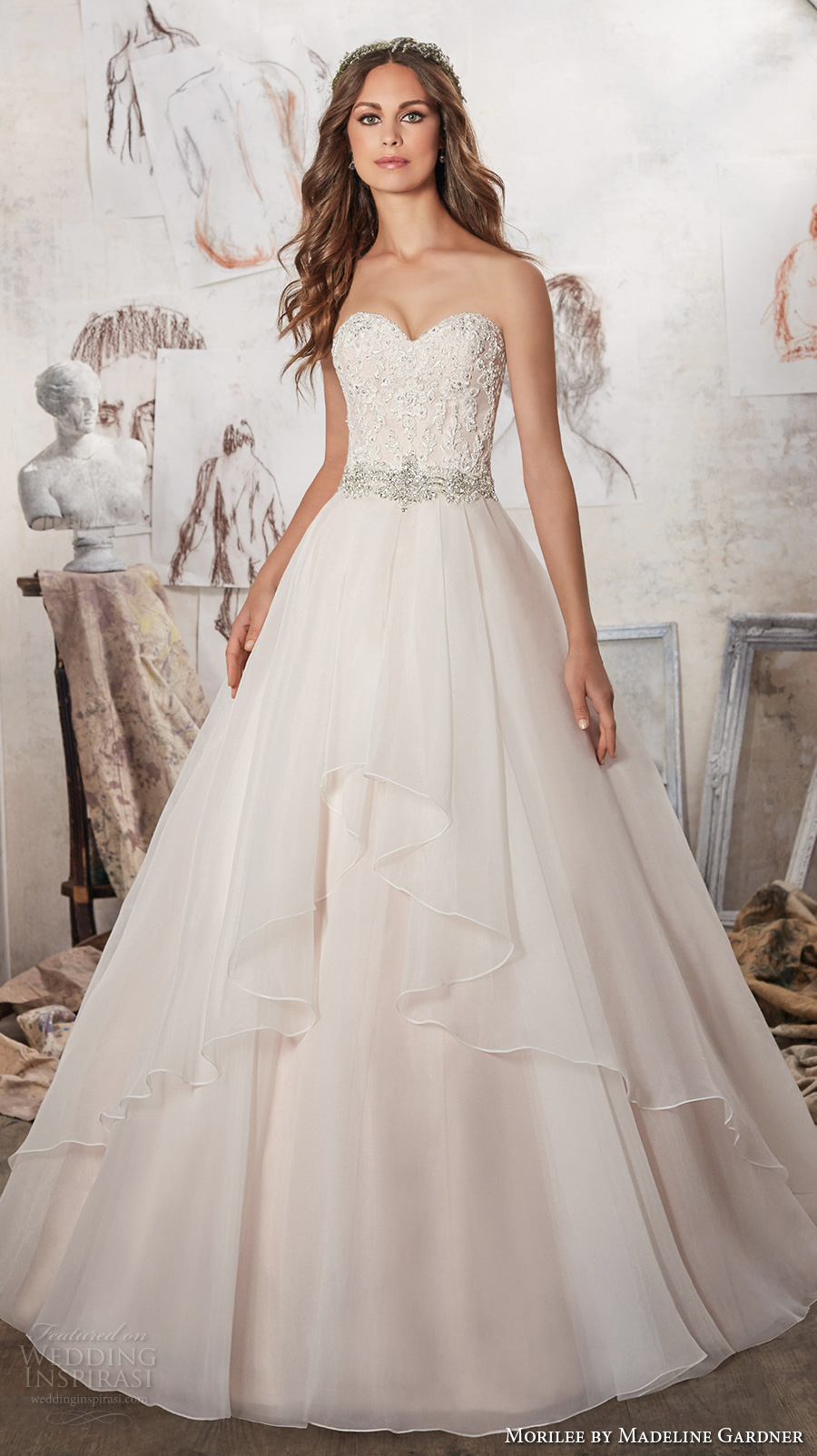 morilee spring 2017 bridal strapless sweetheart neckline heavily embellished bodice layer skirt blush color romantic a line wedding dress chapel train (5511) mv