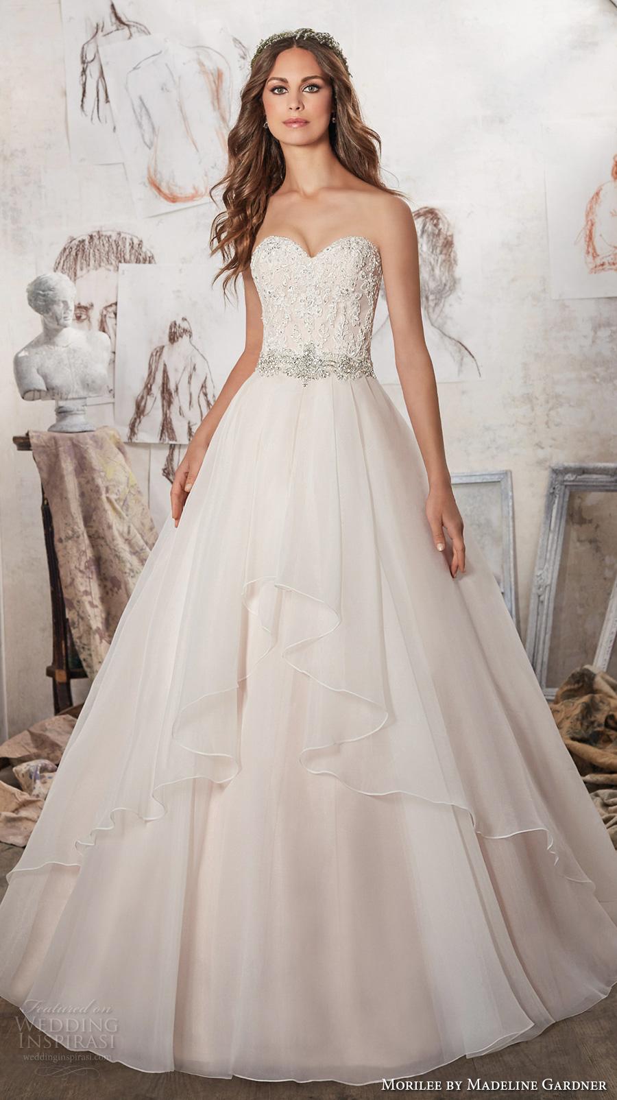 morilee spring 2017 bridal strapless sweetheart neckline heavily embellished bodice layer skirt blush color romantic a  line wedding dress chapel train (5511) mv